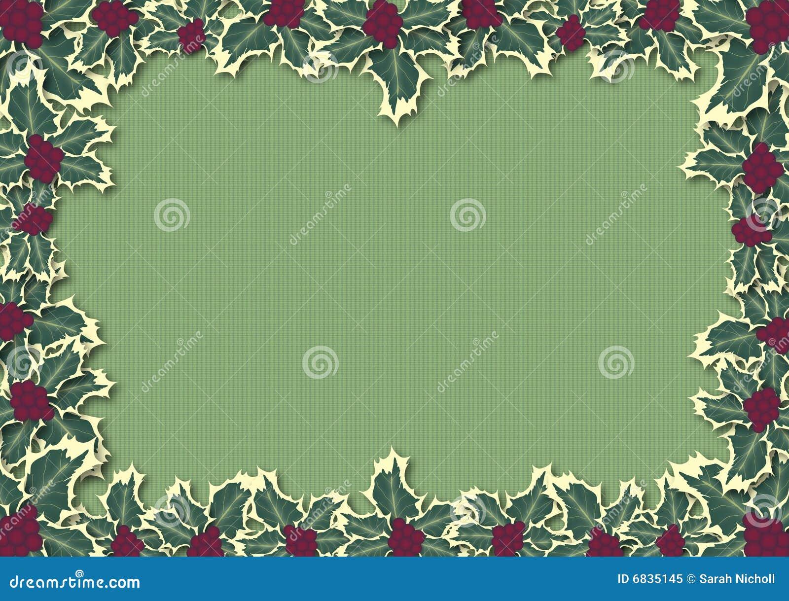 边界绿色霍莉叶子