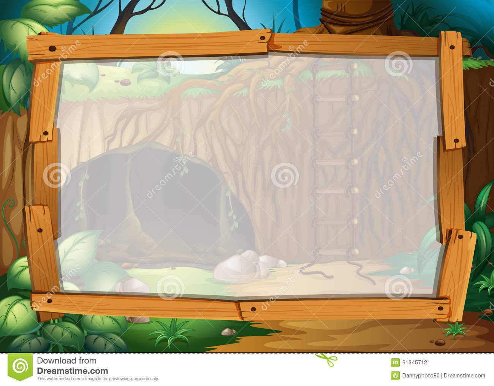 与森林背景例证的边界设计.图片