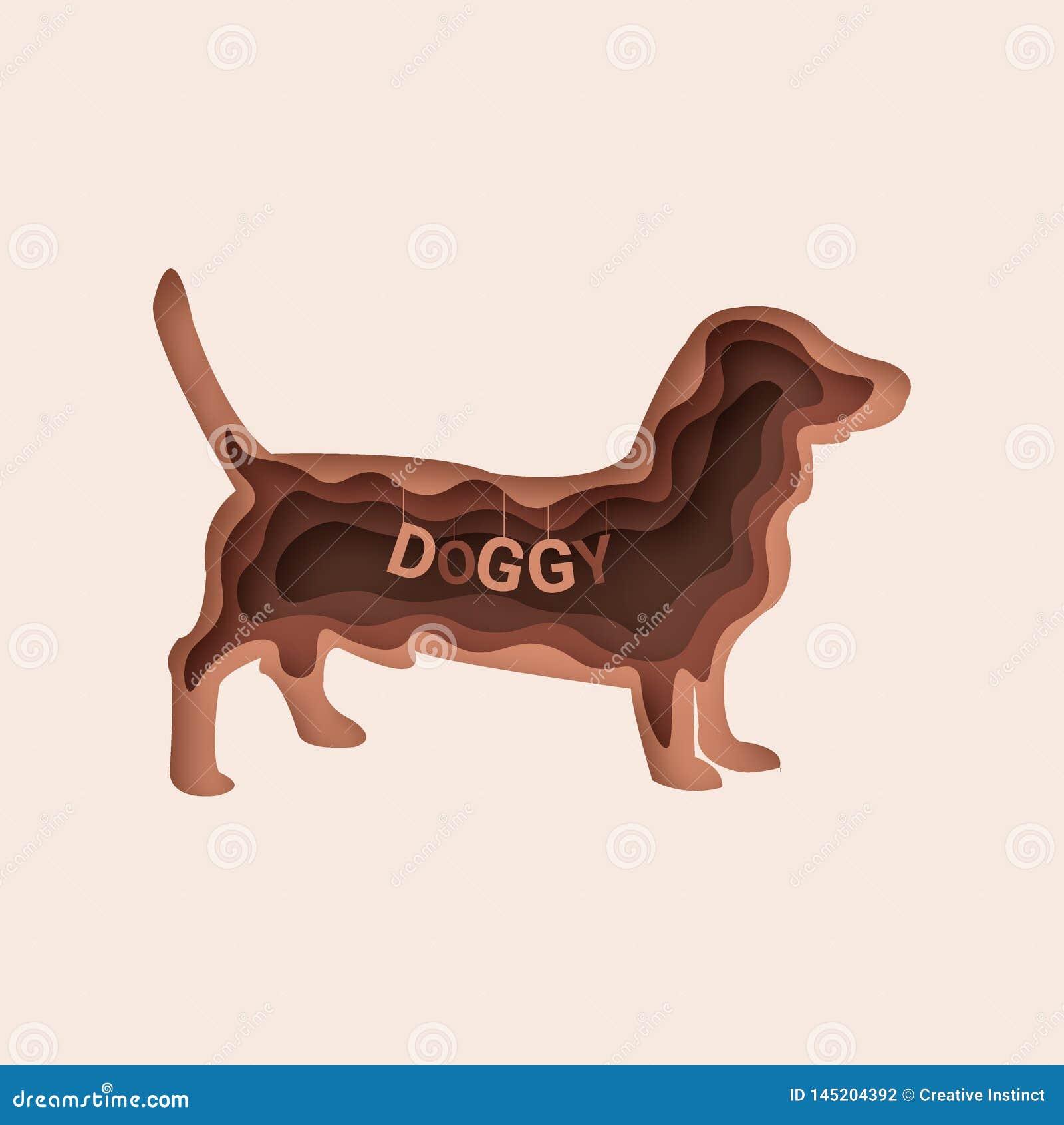 达克斯猎犬狗,3d摘要纸裁减传染媒介10 eps
