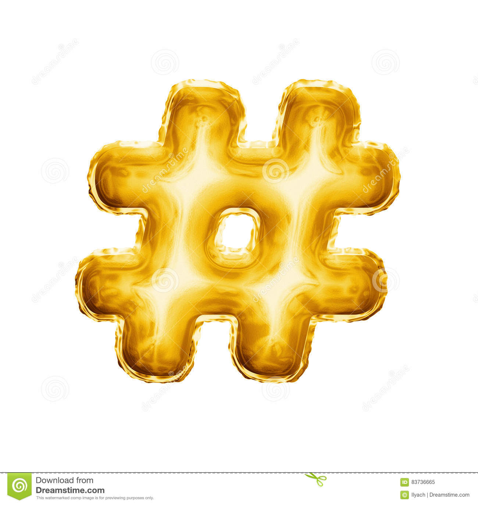 迅速增加hashtag数字标志标志3D金黄箔现实字母表