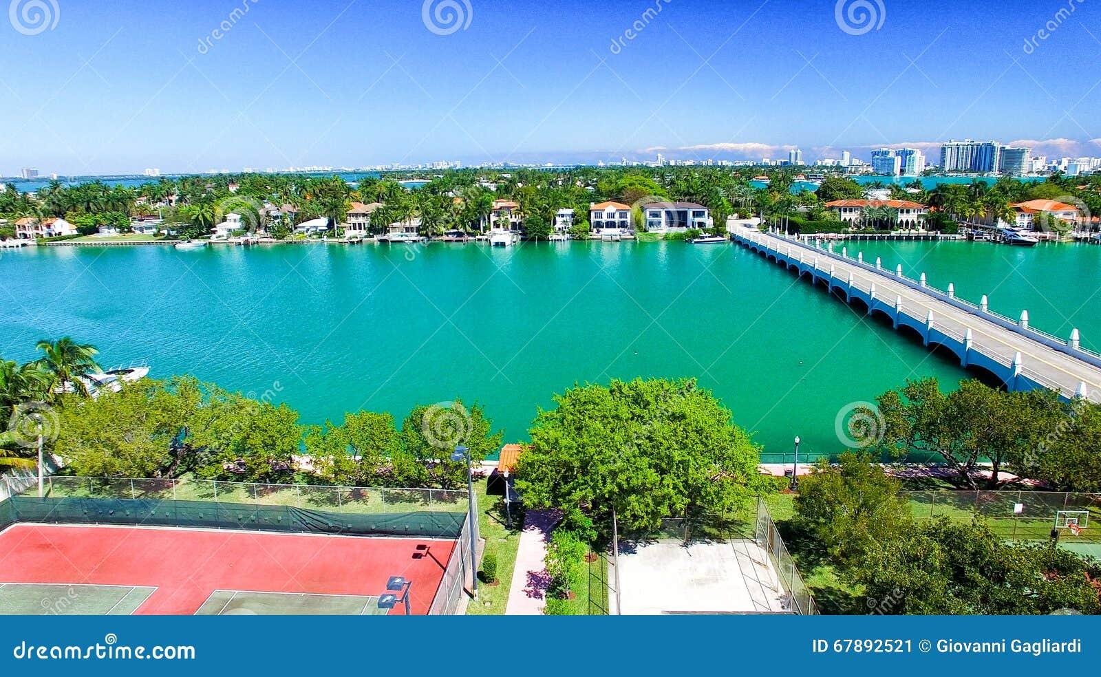 迈阿密鸟瞰图在一个晴天