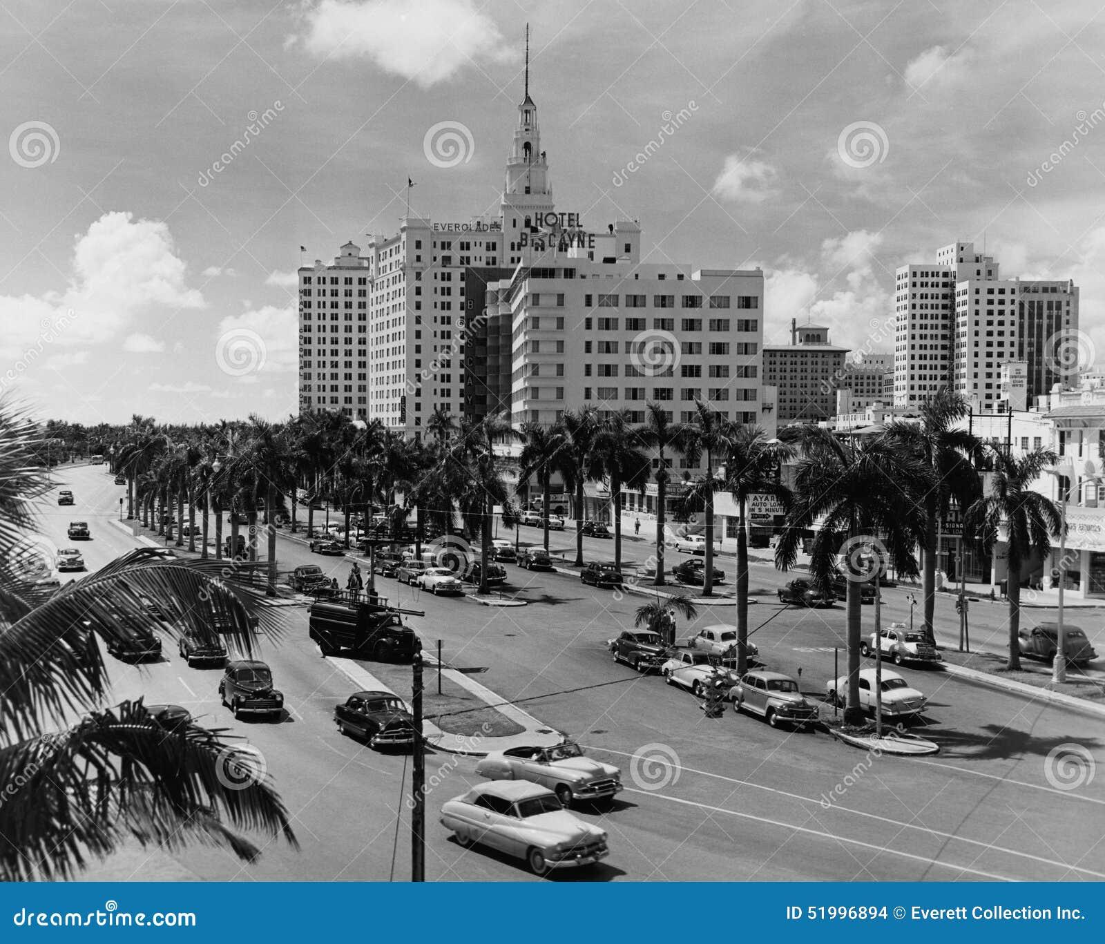 迈阿密,佛罗里达,大约1951年(所有人被描述不更长生存,并且庄园不存在 供应商保单那里将