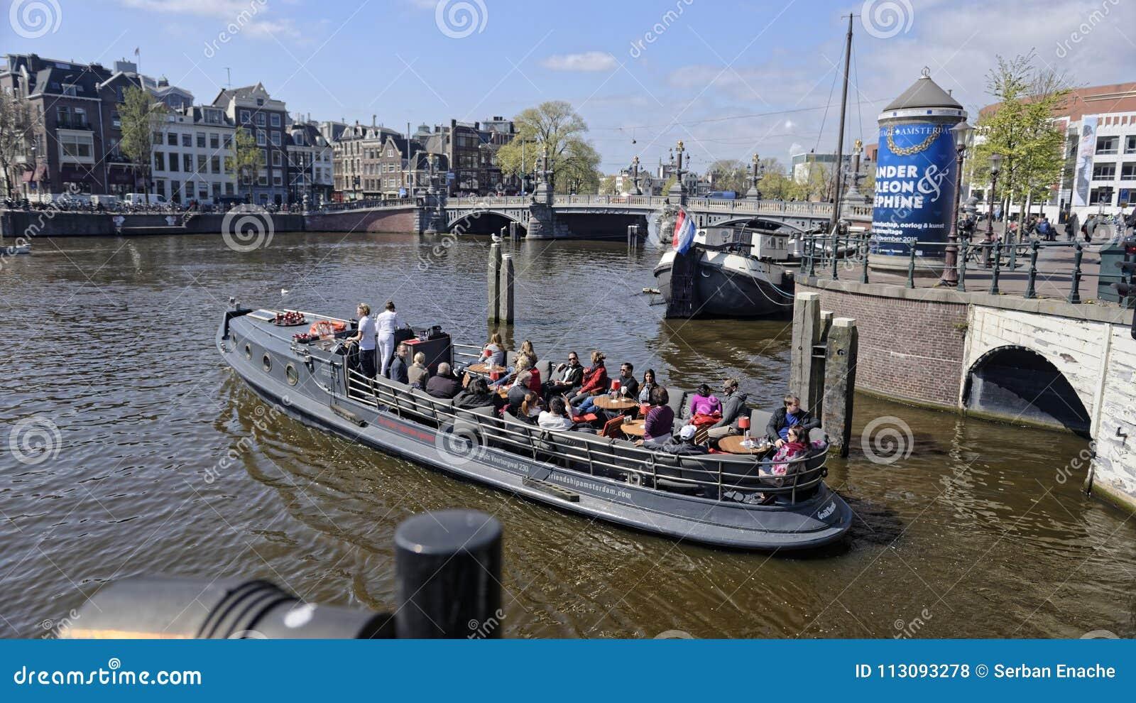 运河的,阿姆斯特丹,荷兰游人