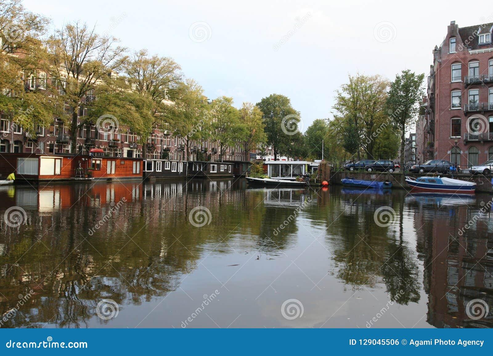 运河阿姆斯特丹荷兰, Gracht阿姆斯特丹Nederland