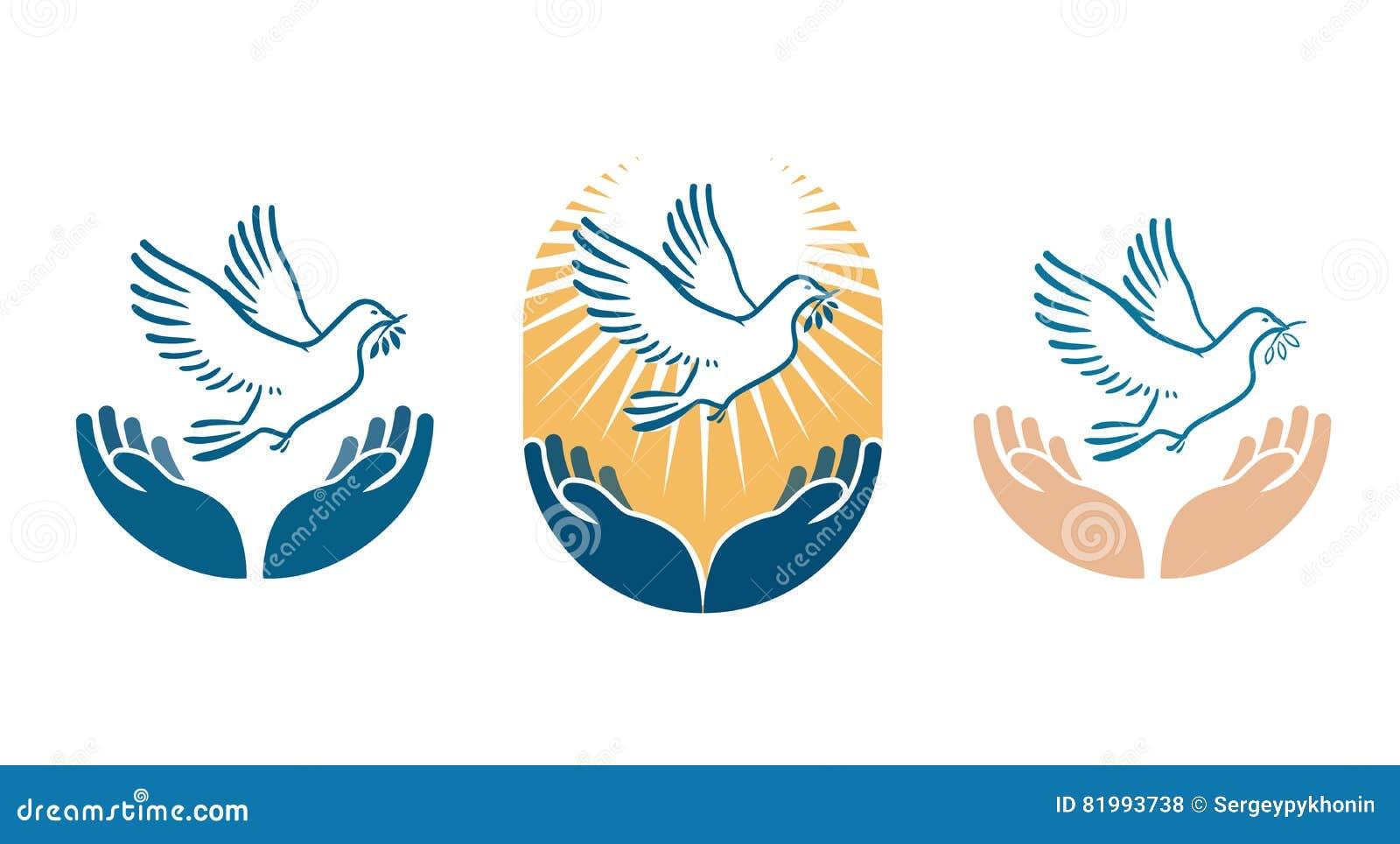 运载在额嘴的鸠鸟橄榄树枝作为和平标志 传染媒介商标或象