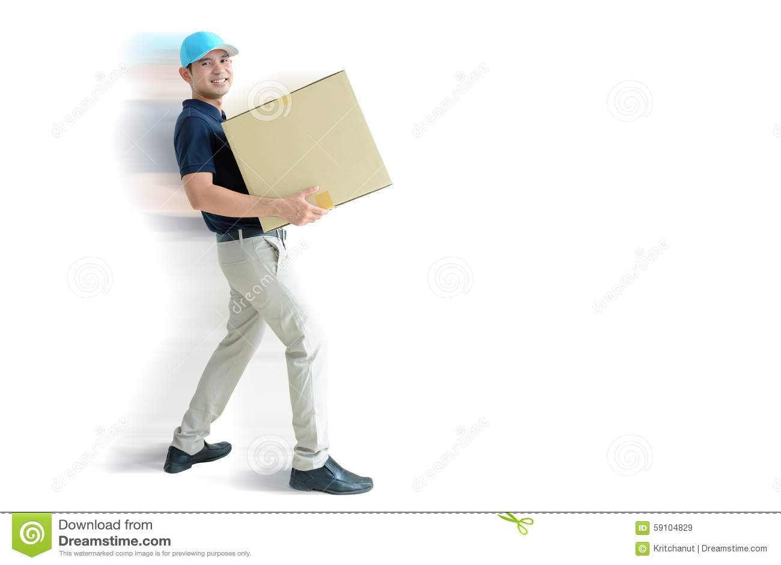 运载纸板箱的送货员