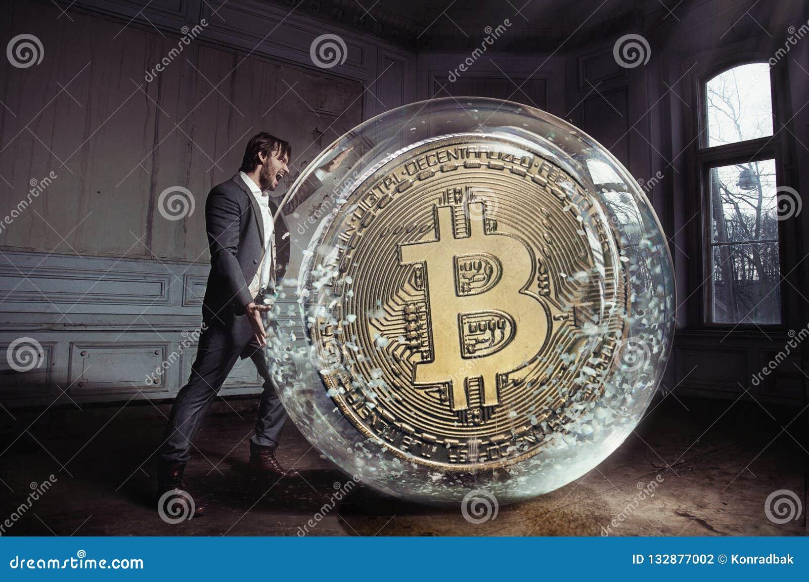 运载bitcoin的一个英俊的商人的概念性画象