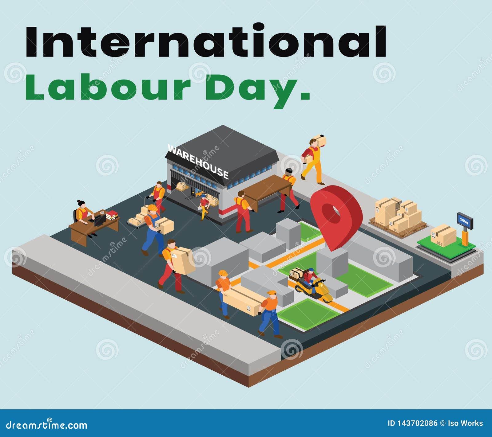 运输和交付是完成的等量艺术品概念的国际劳动节