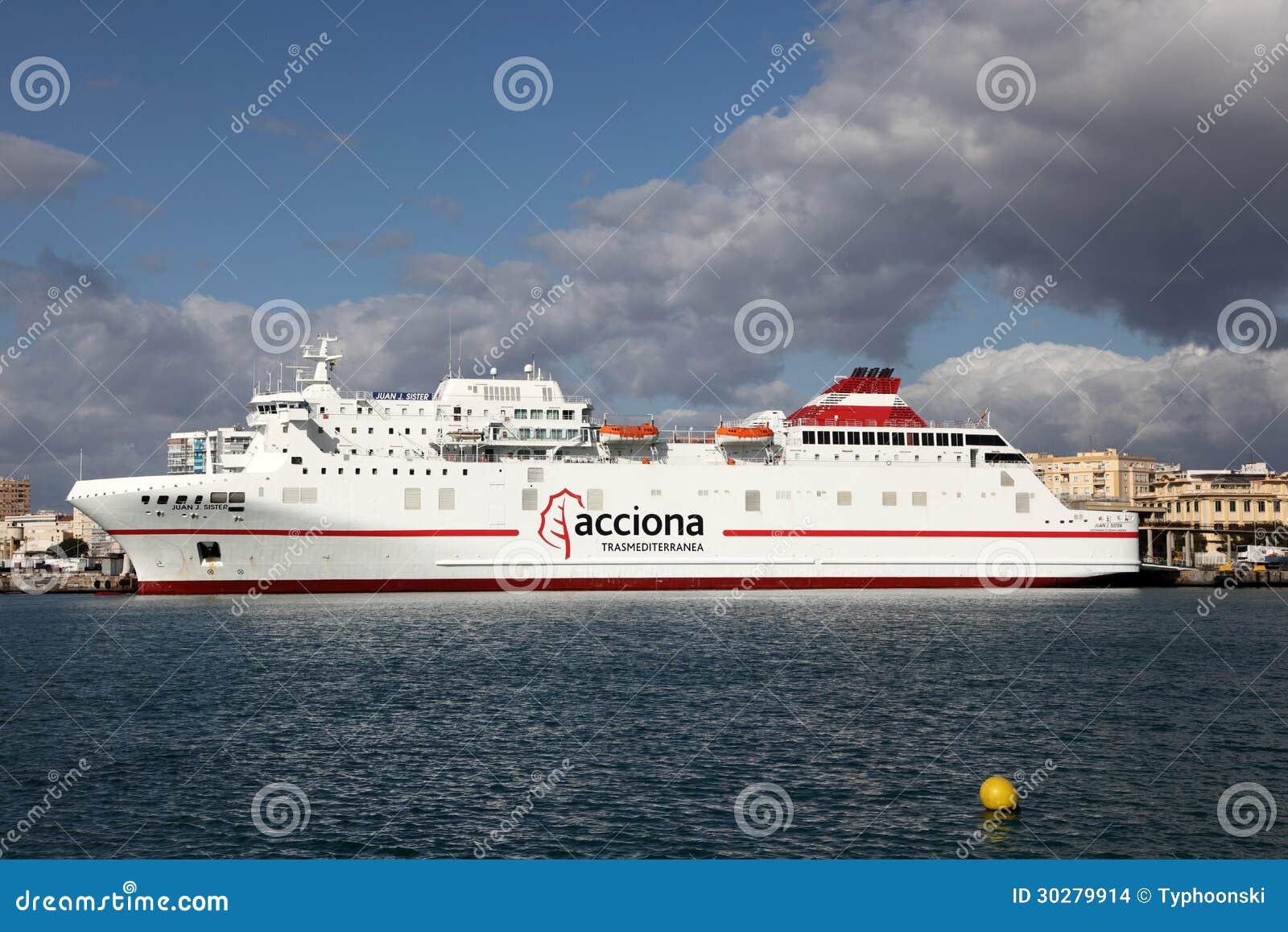 轮渡船在马拉加,西班牙
