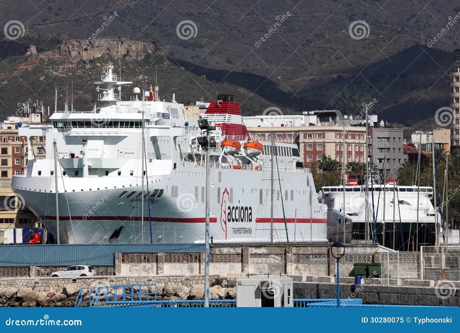 在马拉加,西班牙运送船