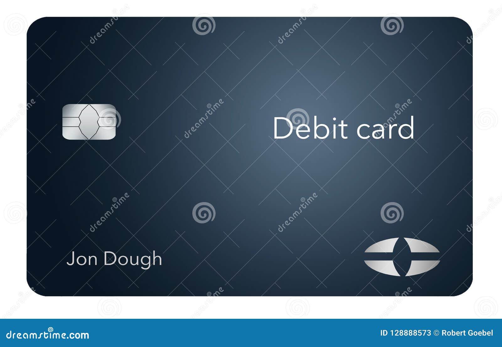这一张现代和时髦的银行借项卡片 它是例证并且是假装和普通的避免商标的所有问题
