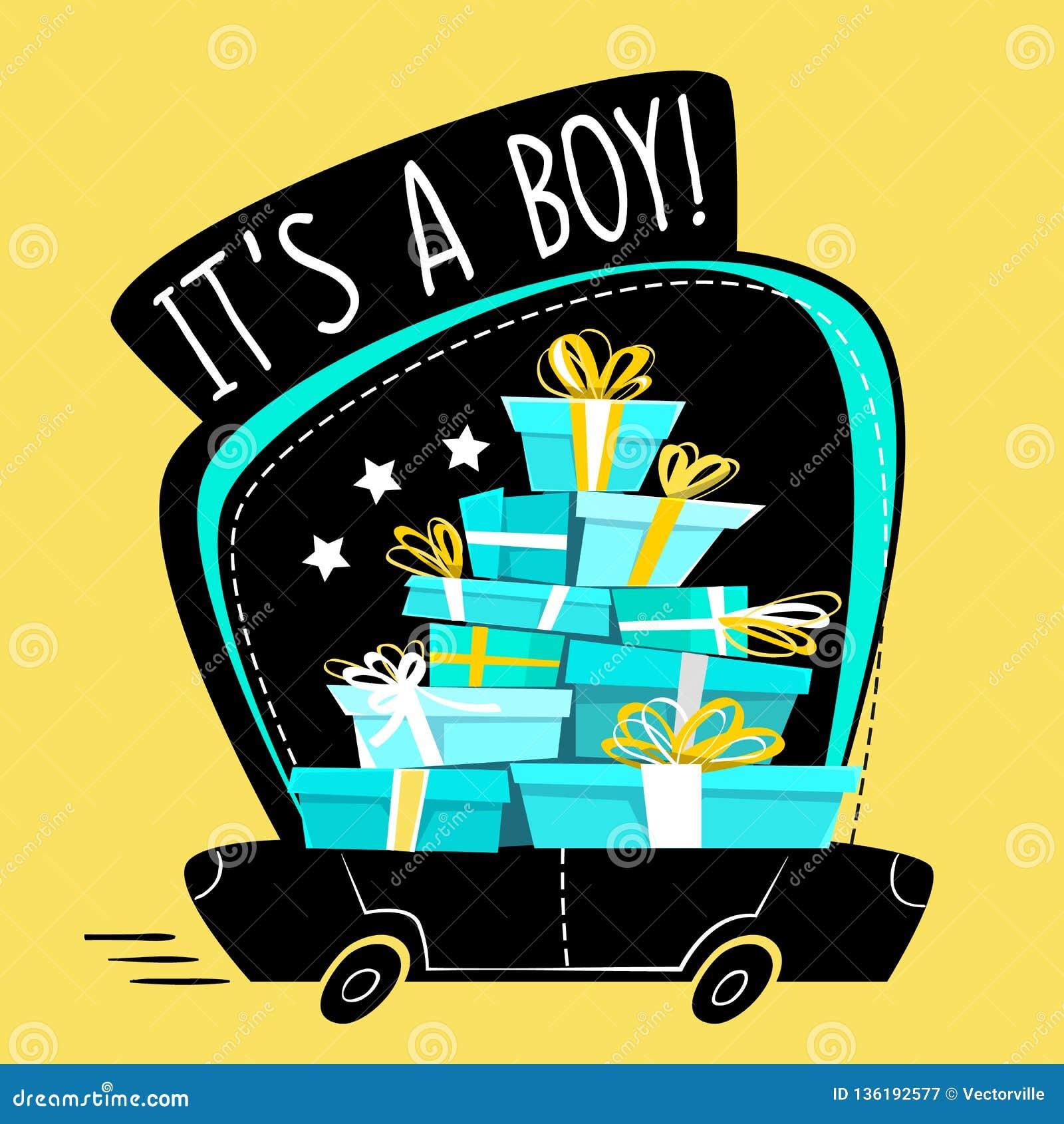 这是男孩问候明信片或贴纸,动画片错误透视最小的平的样式 充分连续汽车礼物,礼物stac