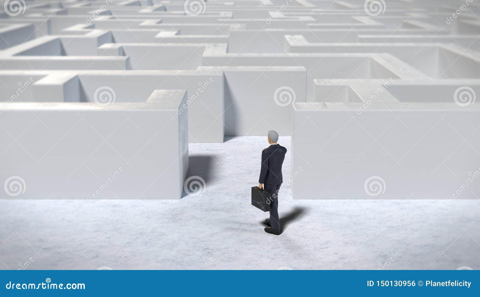 进入一个白色迷宫结构,3d的玩具微型商人小雕象例证