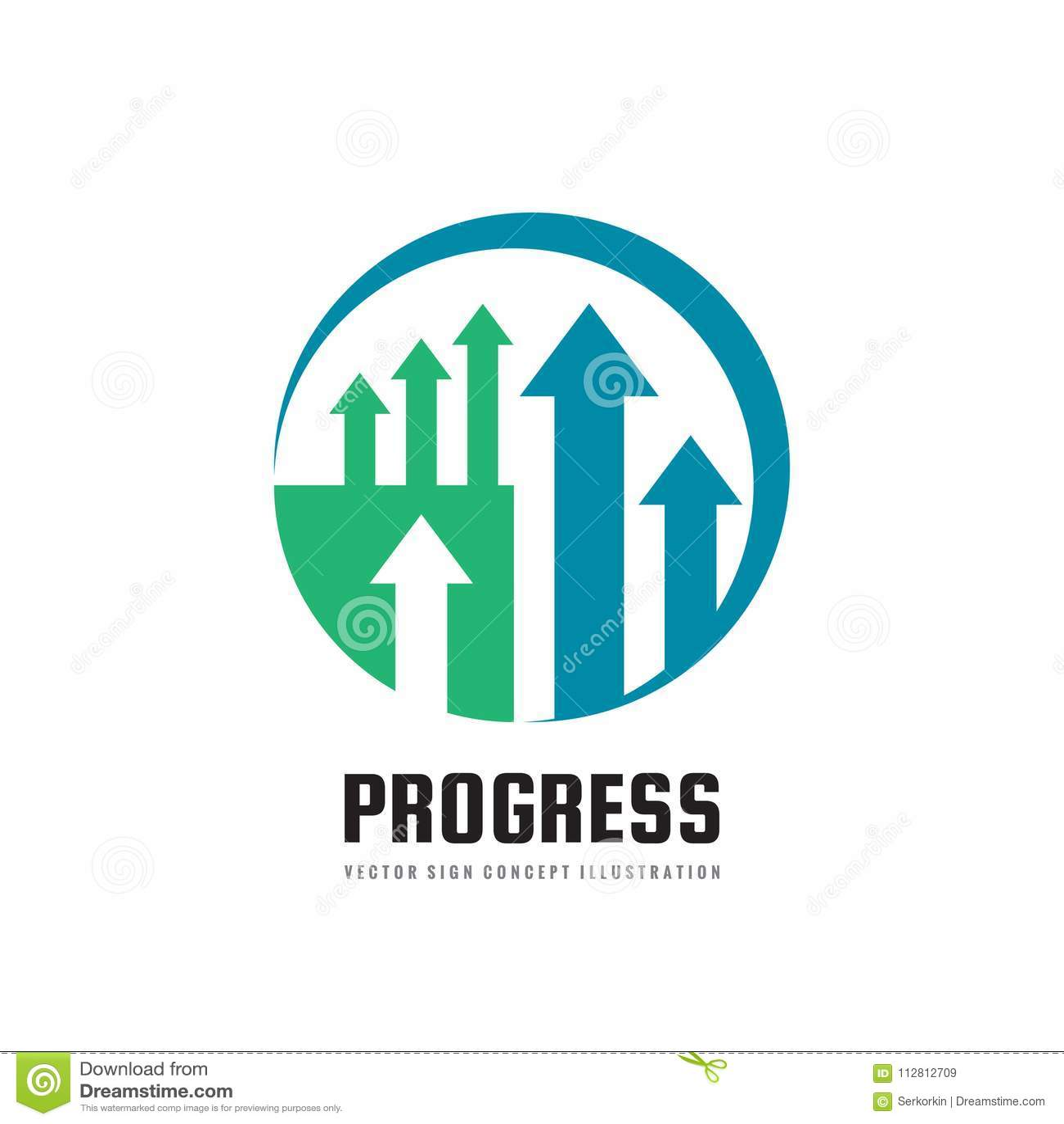 进展-传染媒介企业商标模板概念例证 抽象箭头标志 外汇市场趋向创造性的标志