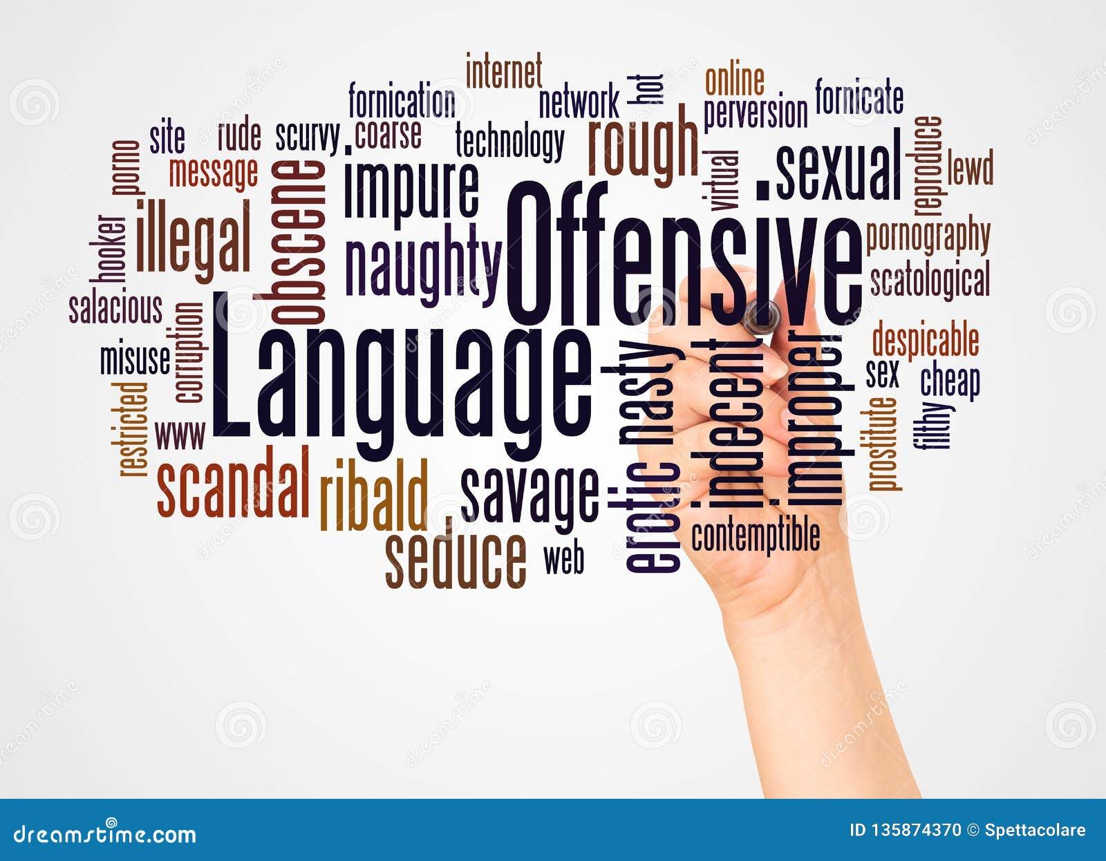 进攻语言词云彩和手有标志概念的