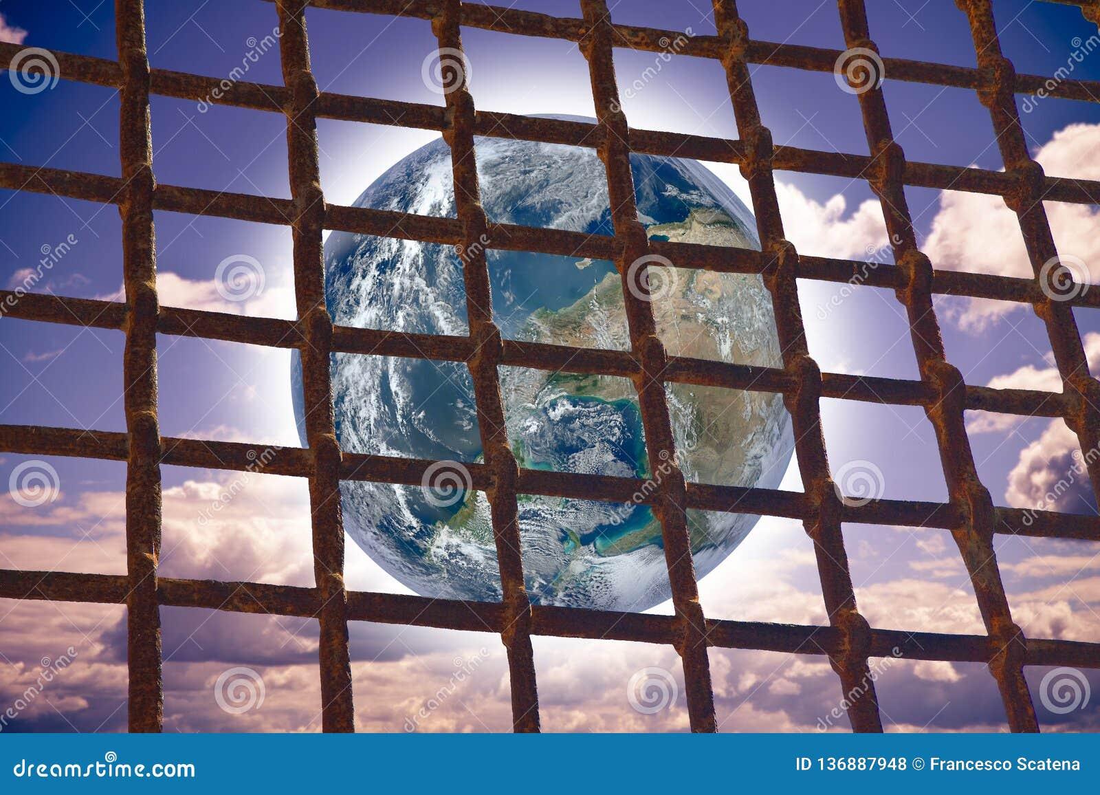 进行下去监狱的金属花格的世界-与图象的概念图象从美国航空航天局
