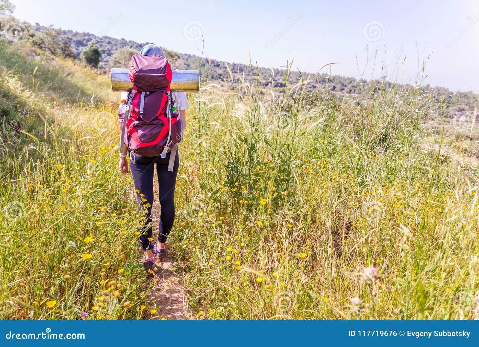 远足高草地的妇女游人