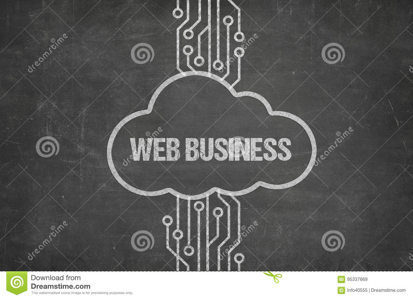 连接到网在云彩的企业文本的网络在黑板