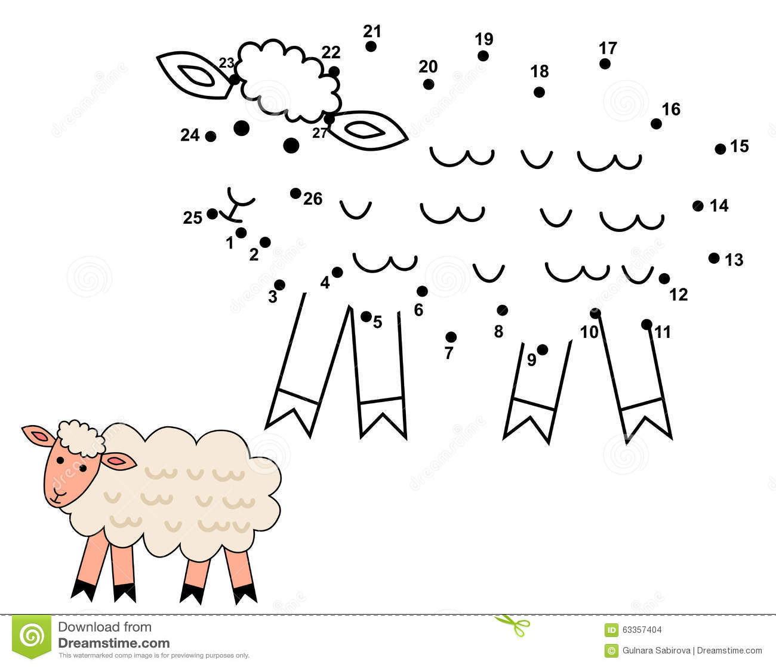 连接小点画逗人喜爱的绵羊