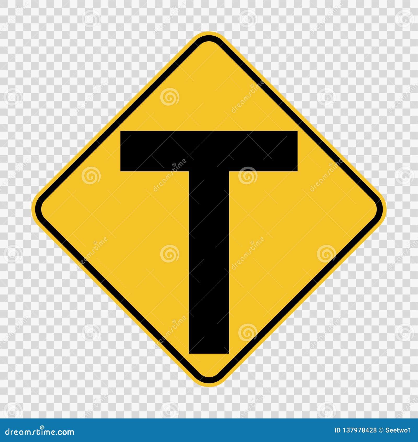 连接点前面,主要交叉点是T形的 在透明背景的标志