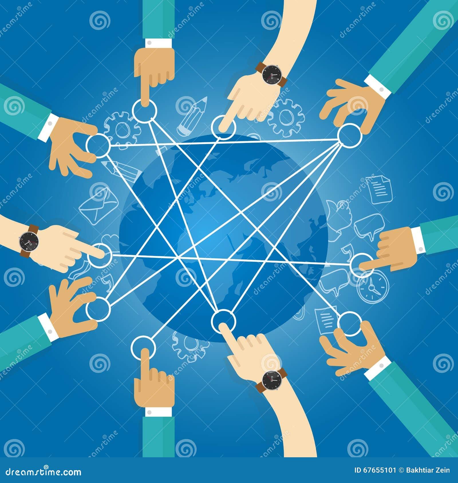 连接的世界大厦运输网络地球合作队工作互联基础设施.图片