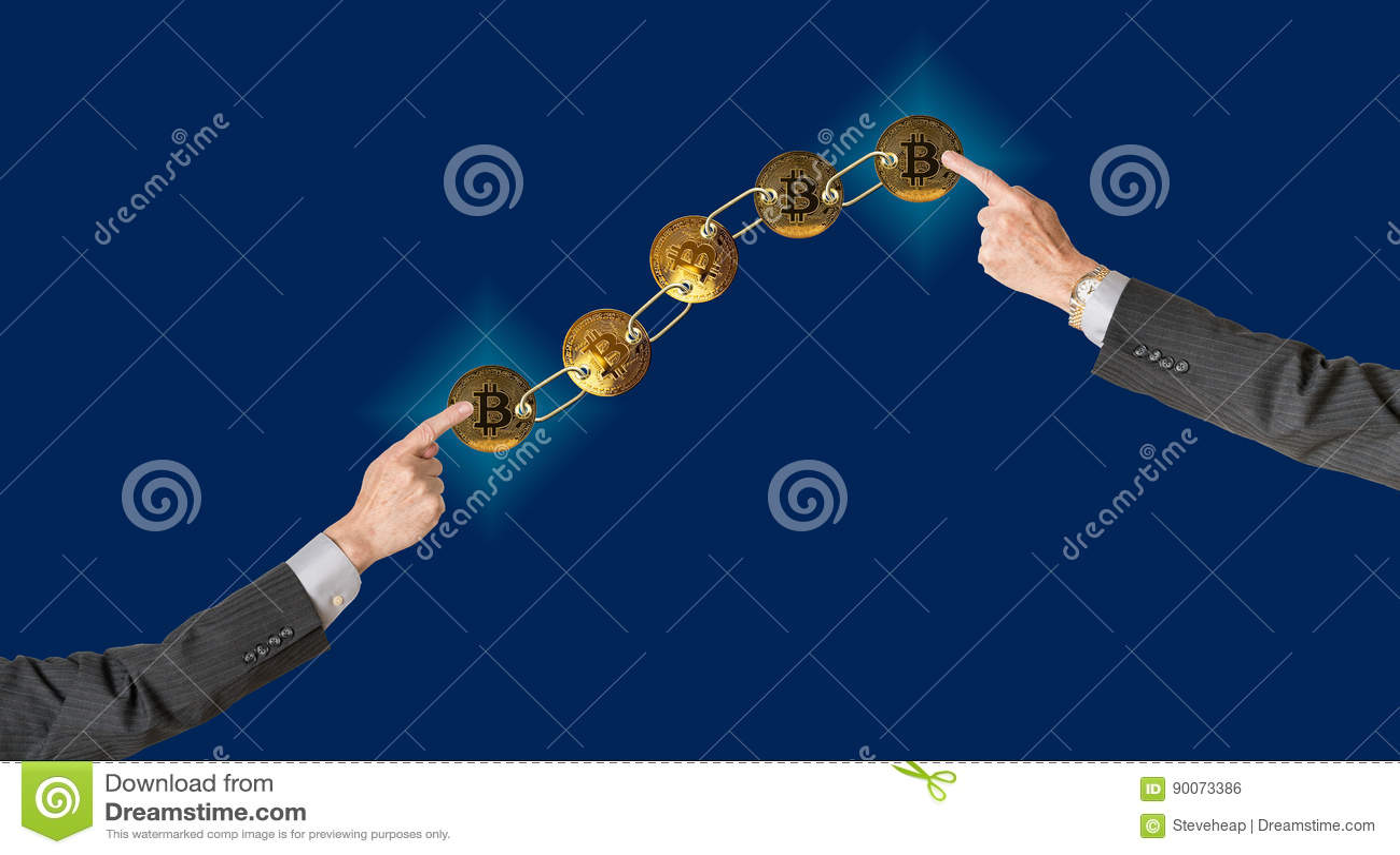 连接的bitcoins有blockchain的蓝色背景