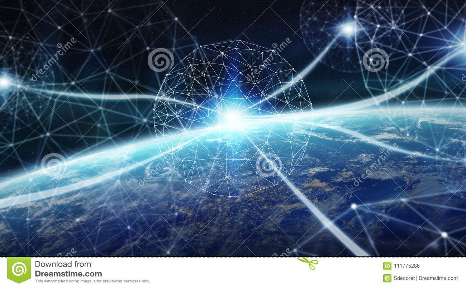 连接系统和行星地球3D上的数据交换回报