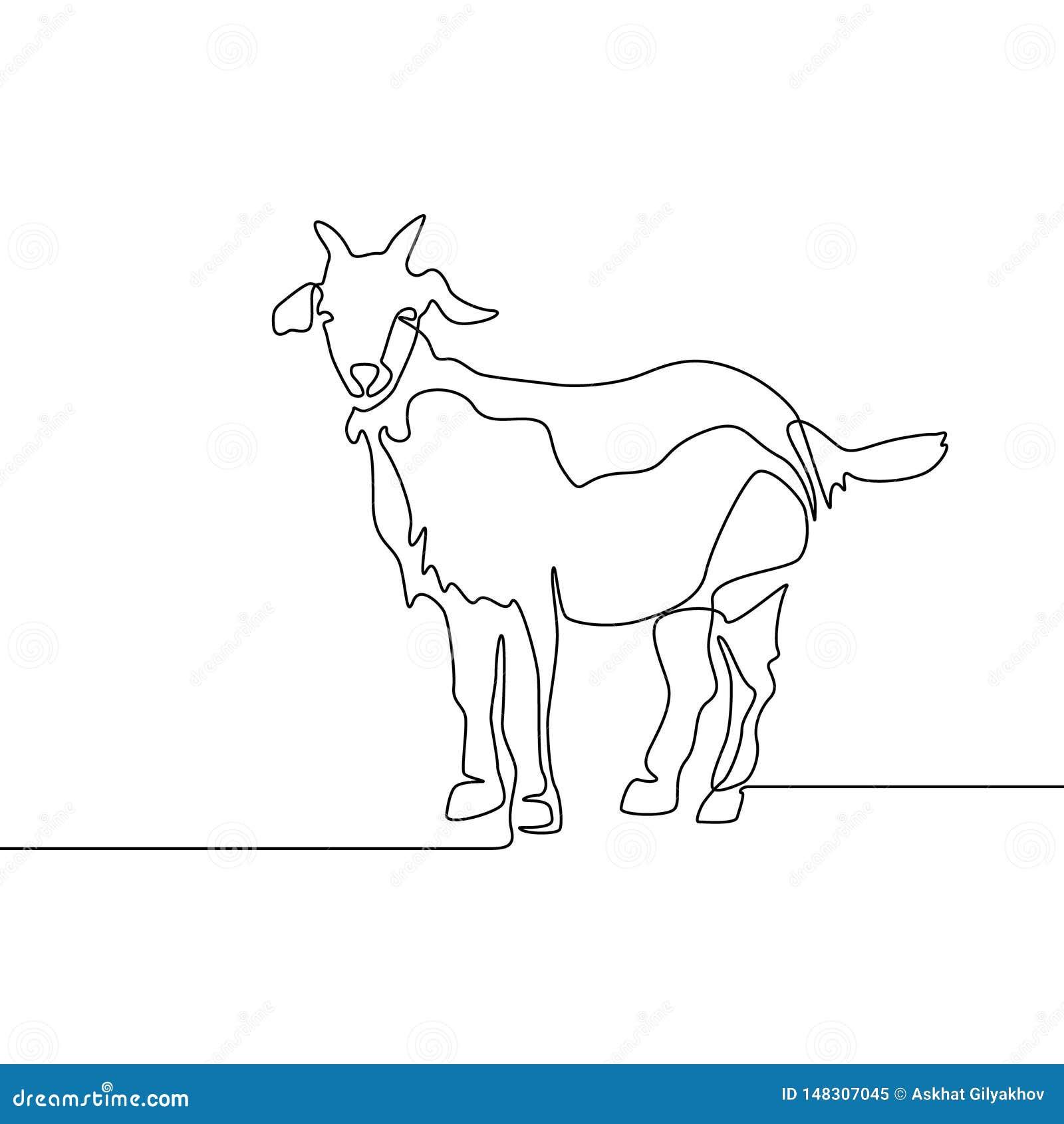 连续的一线描山羊 传染媒介iluustration