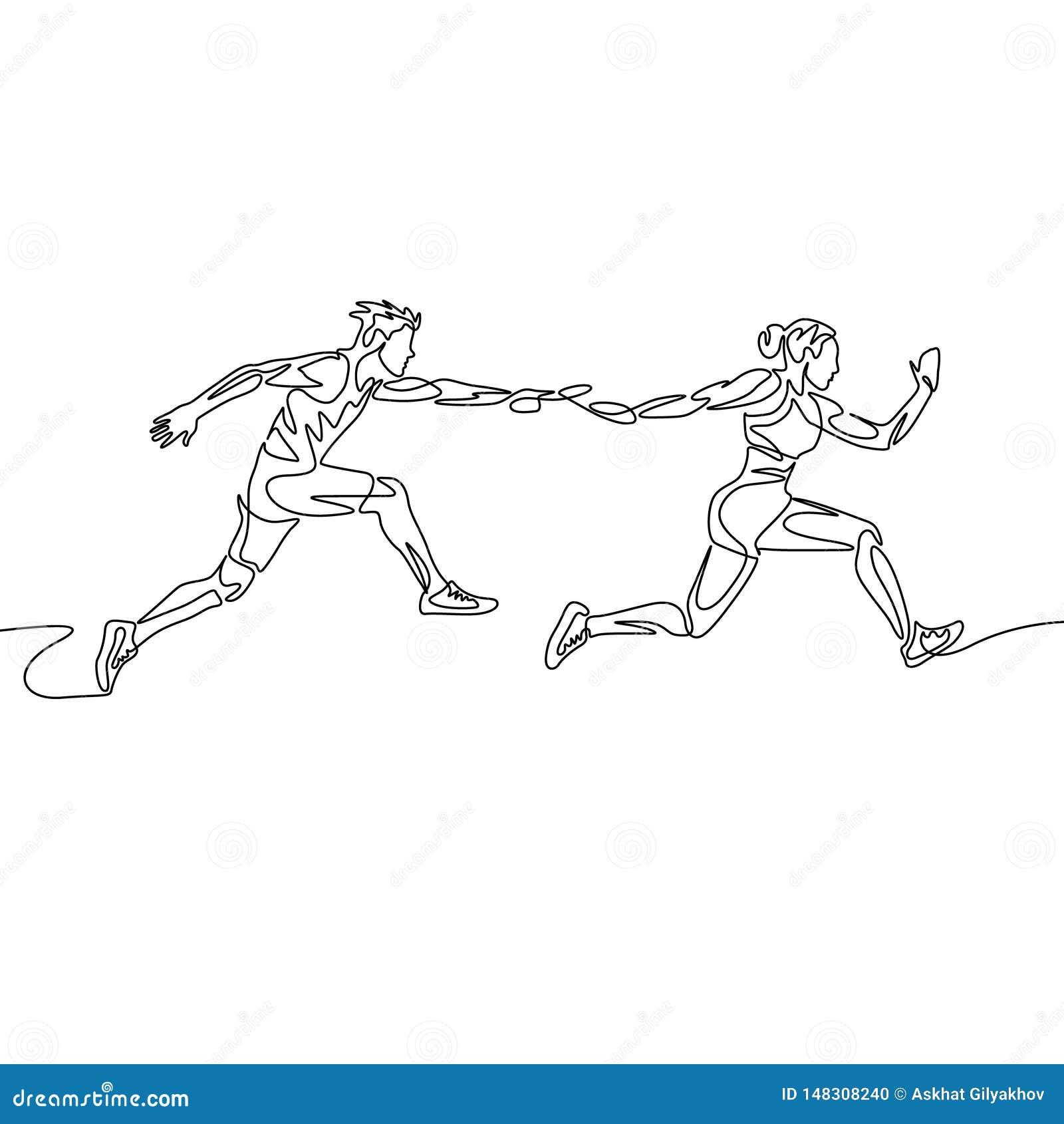 连续的一线描接力赛,赛跑者通过警棒 o