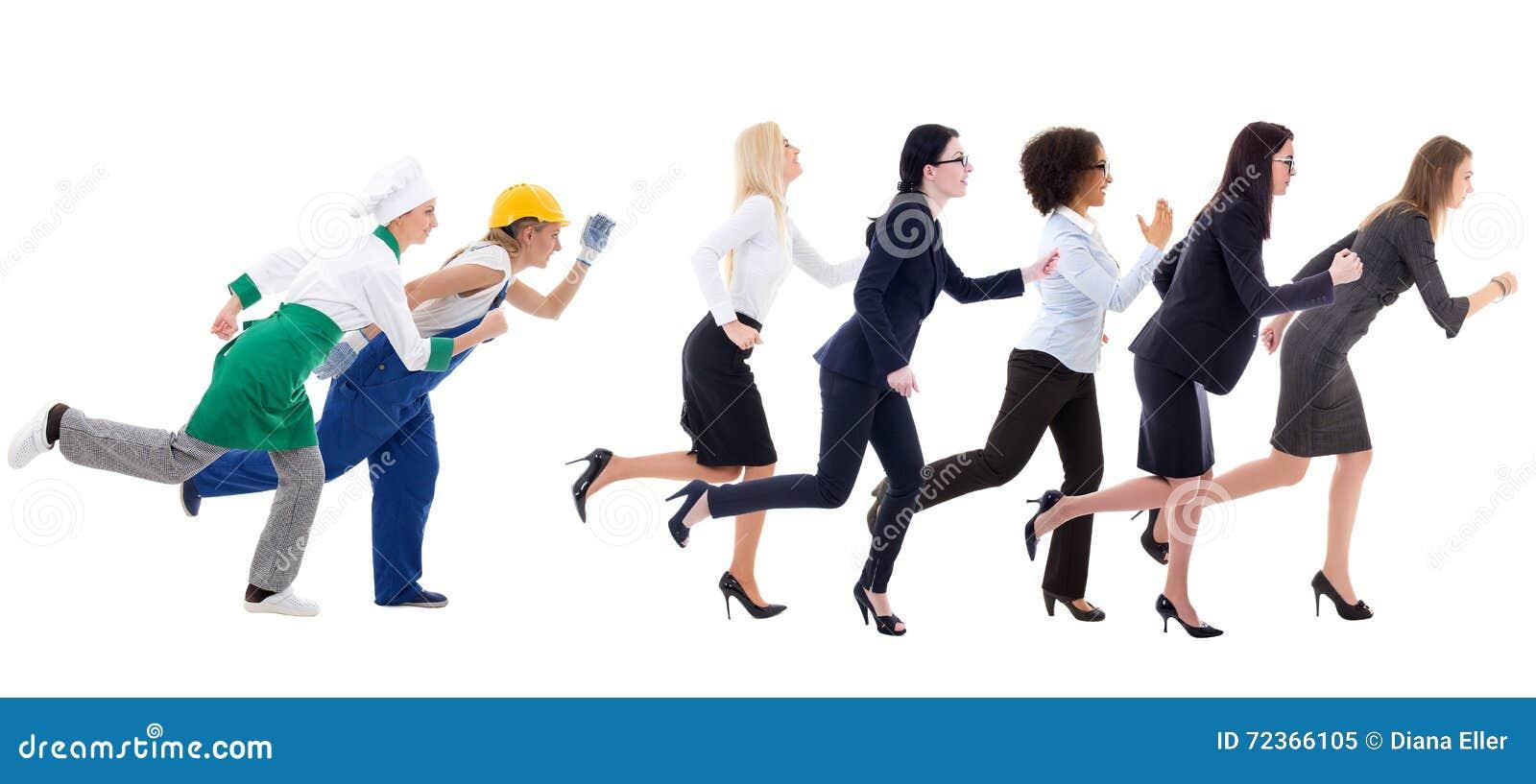 连续女商人和在白色隔绝的服务工作者