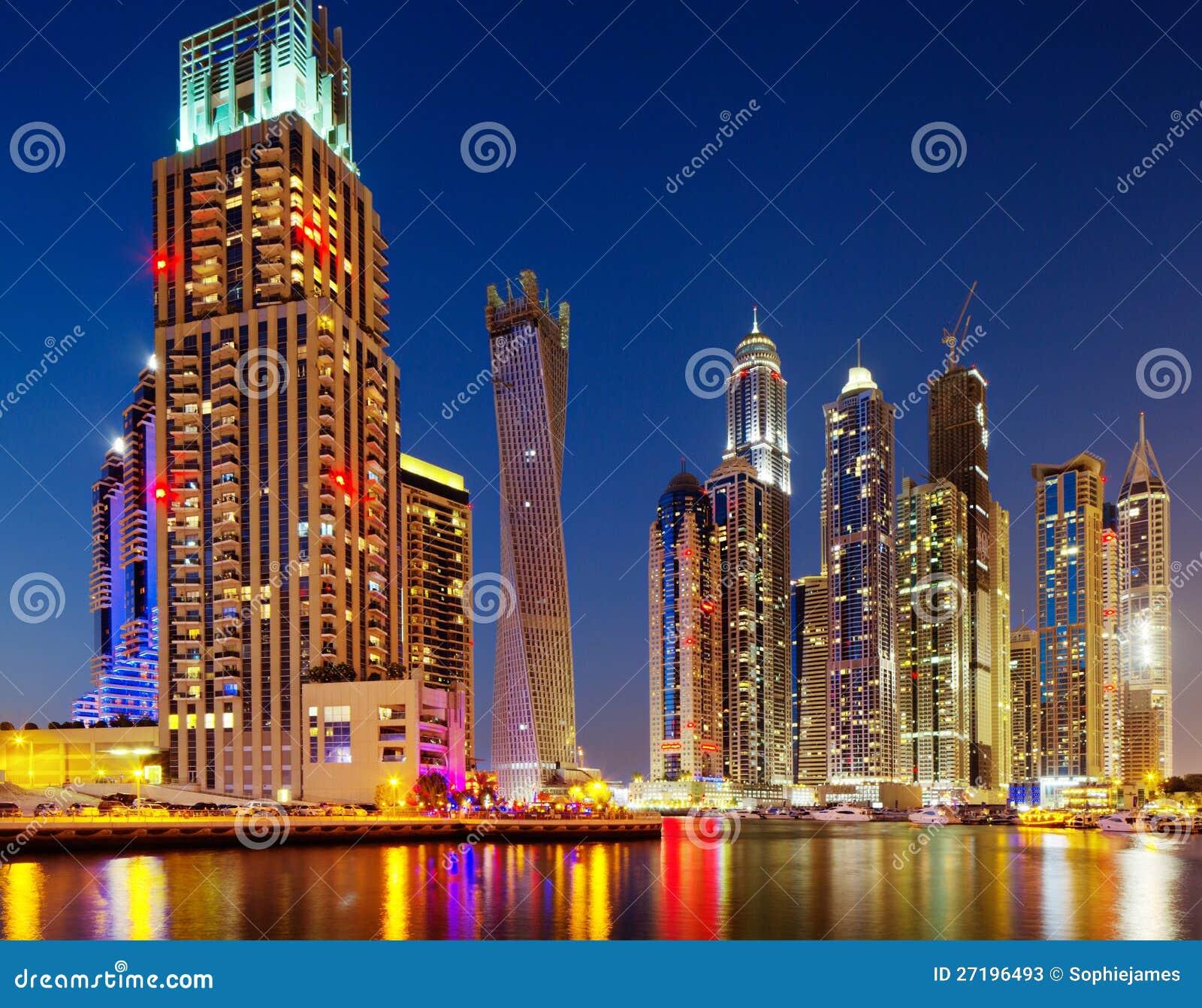 迪拜海滨广场,迪拜,黄昏的阿拉伯联合酋长国