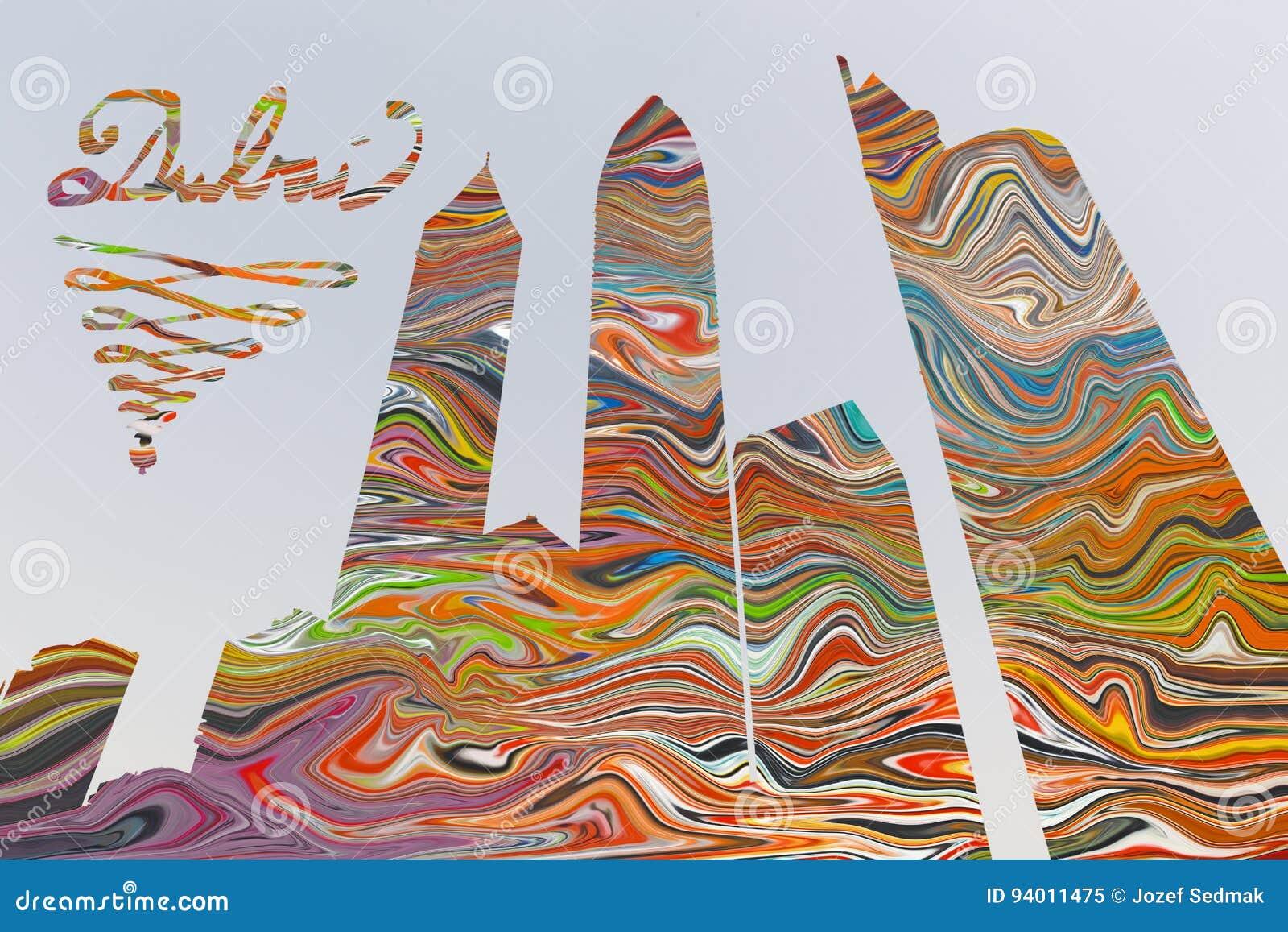 迪拜-摩天大楼例证和pohto蒙太奇颜色整个背景的