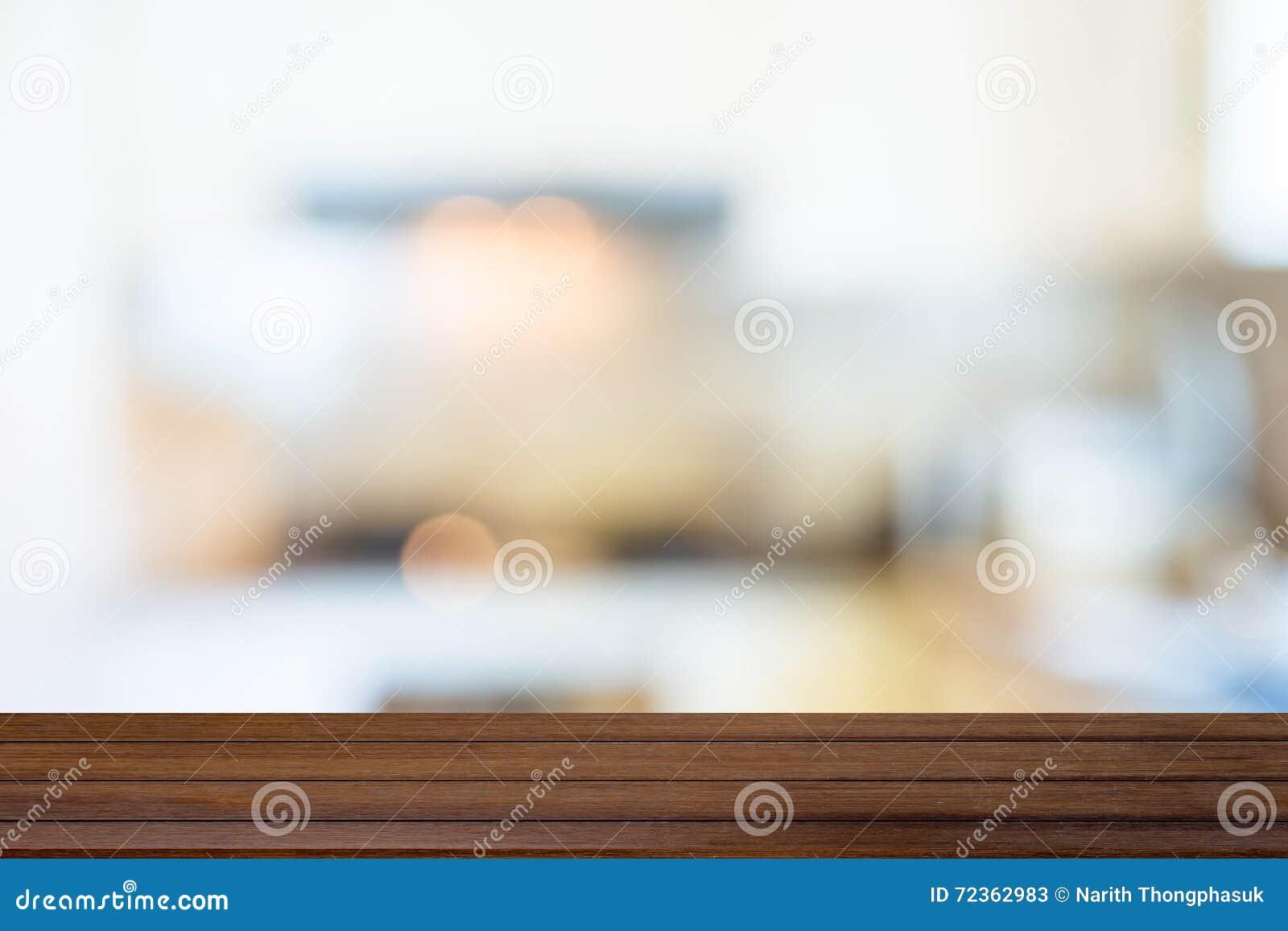 迷离厨房内部和木桌,可以使用作为backgrou