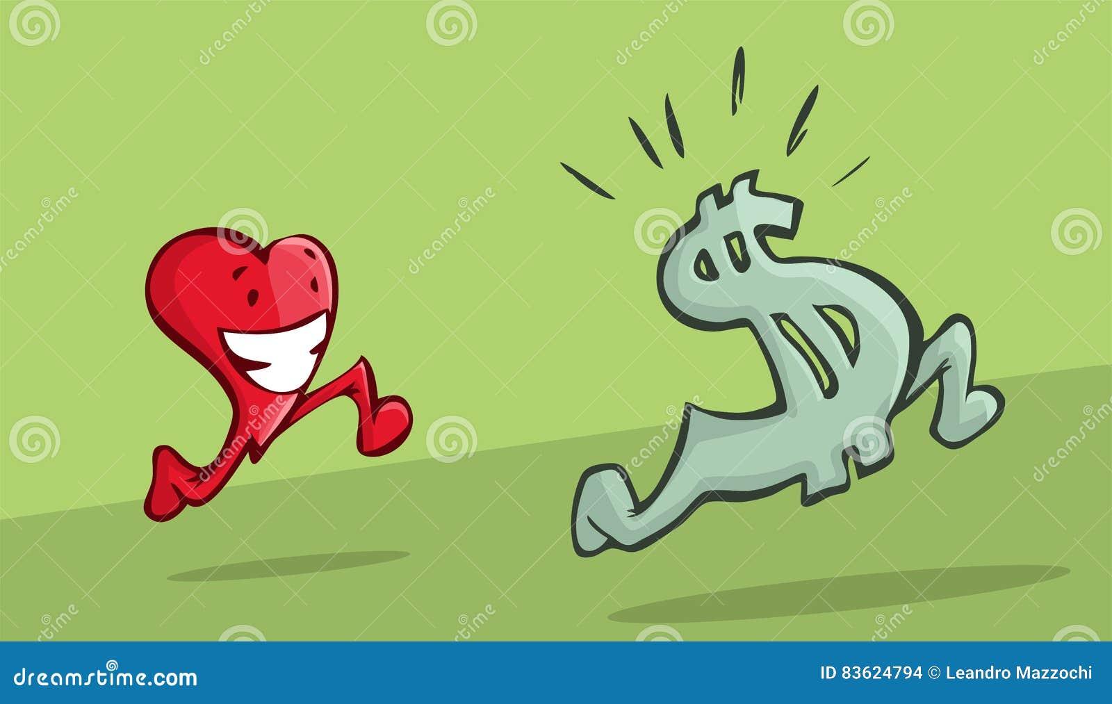 追逐美元的符号的心脏