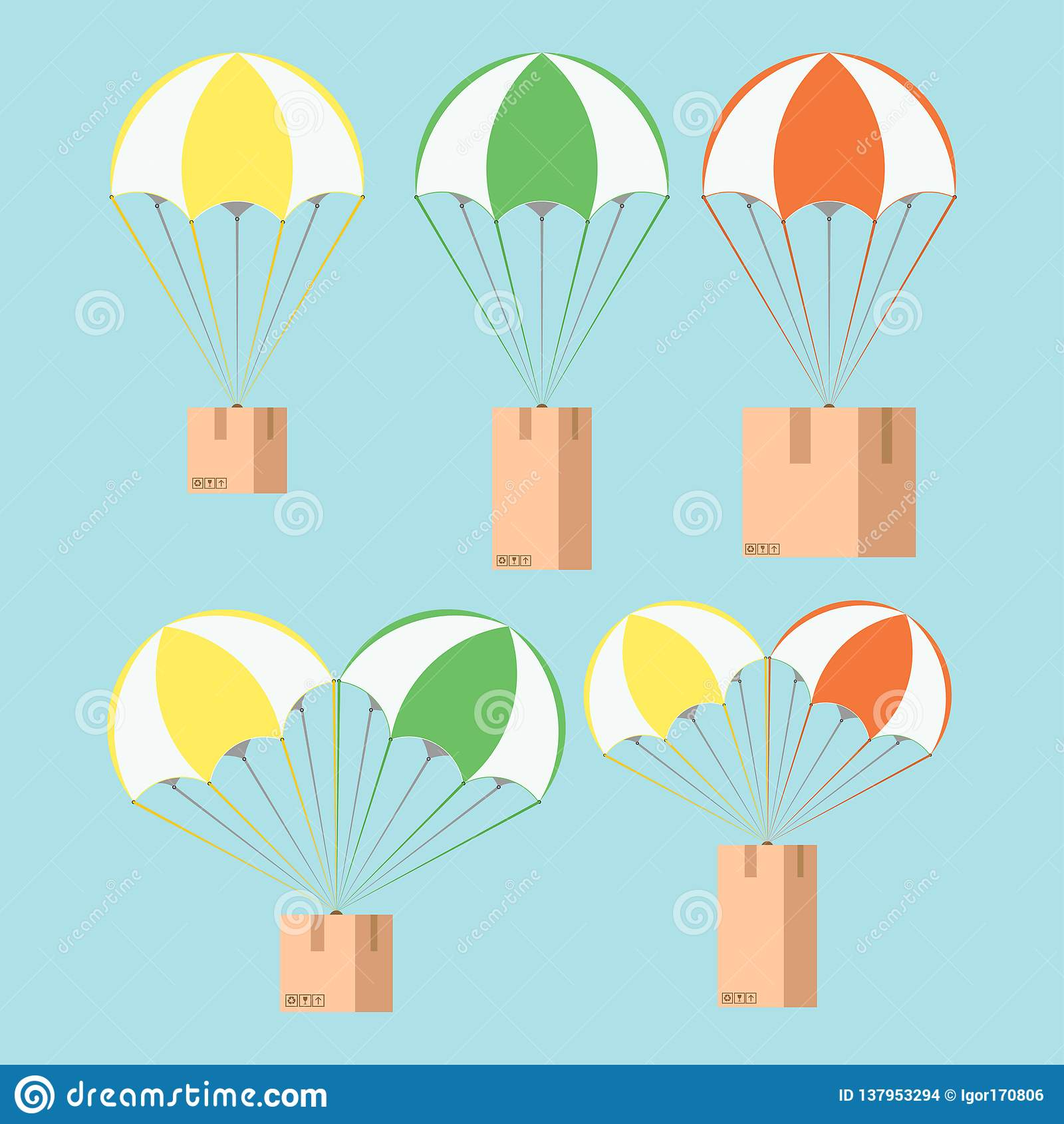 送货服务,在气球,例证的小包的概念
