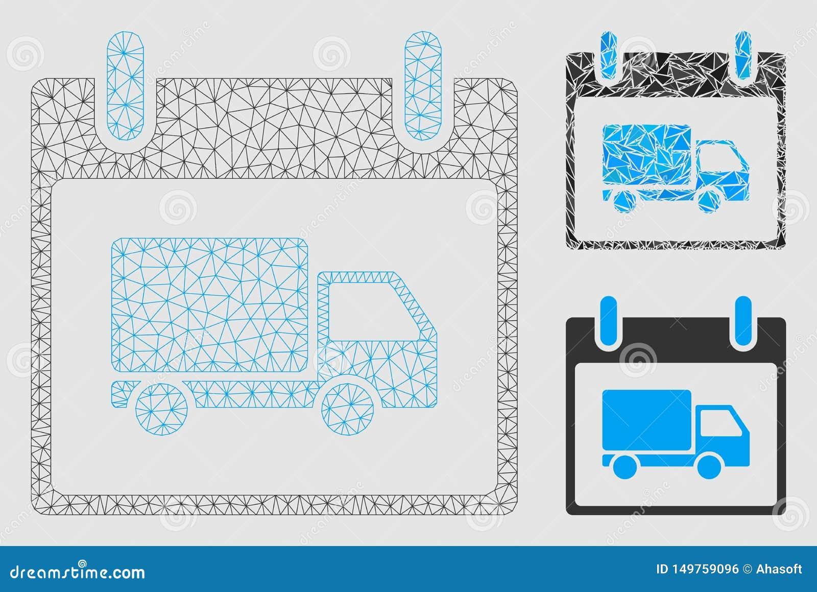 送货车日历传染媒介滤网接线框模型和三角马赛克象