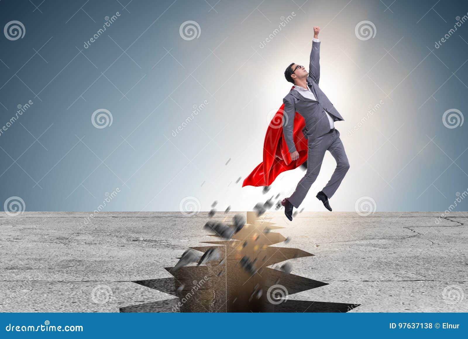 逃脱从困难的情况的超级英雄商人