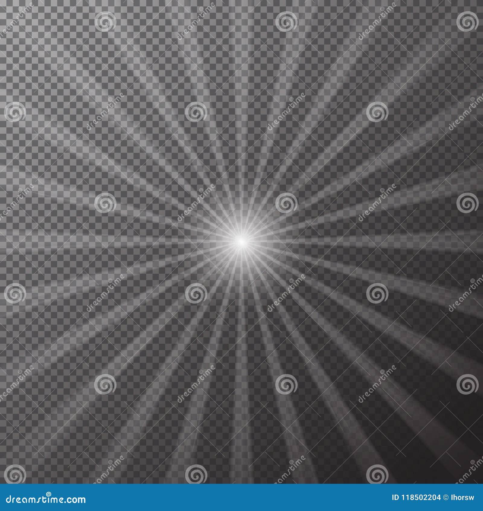 透明明亮的太阳在方格的背景发光 太阳作用不可思议的光芒  传染媒介illustrat