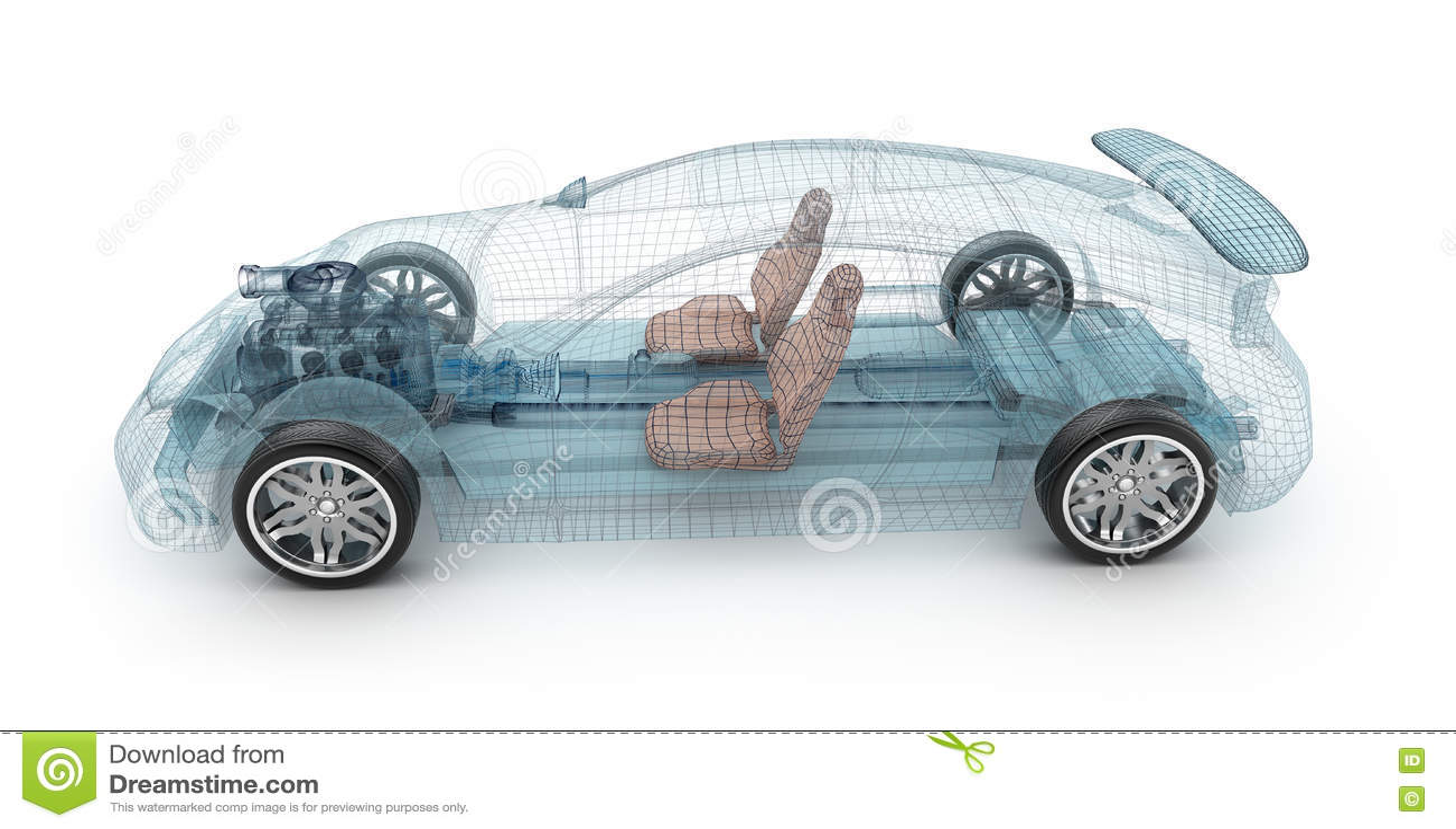透明汽车设计,导线模型 3d例证