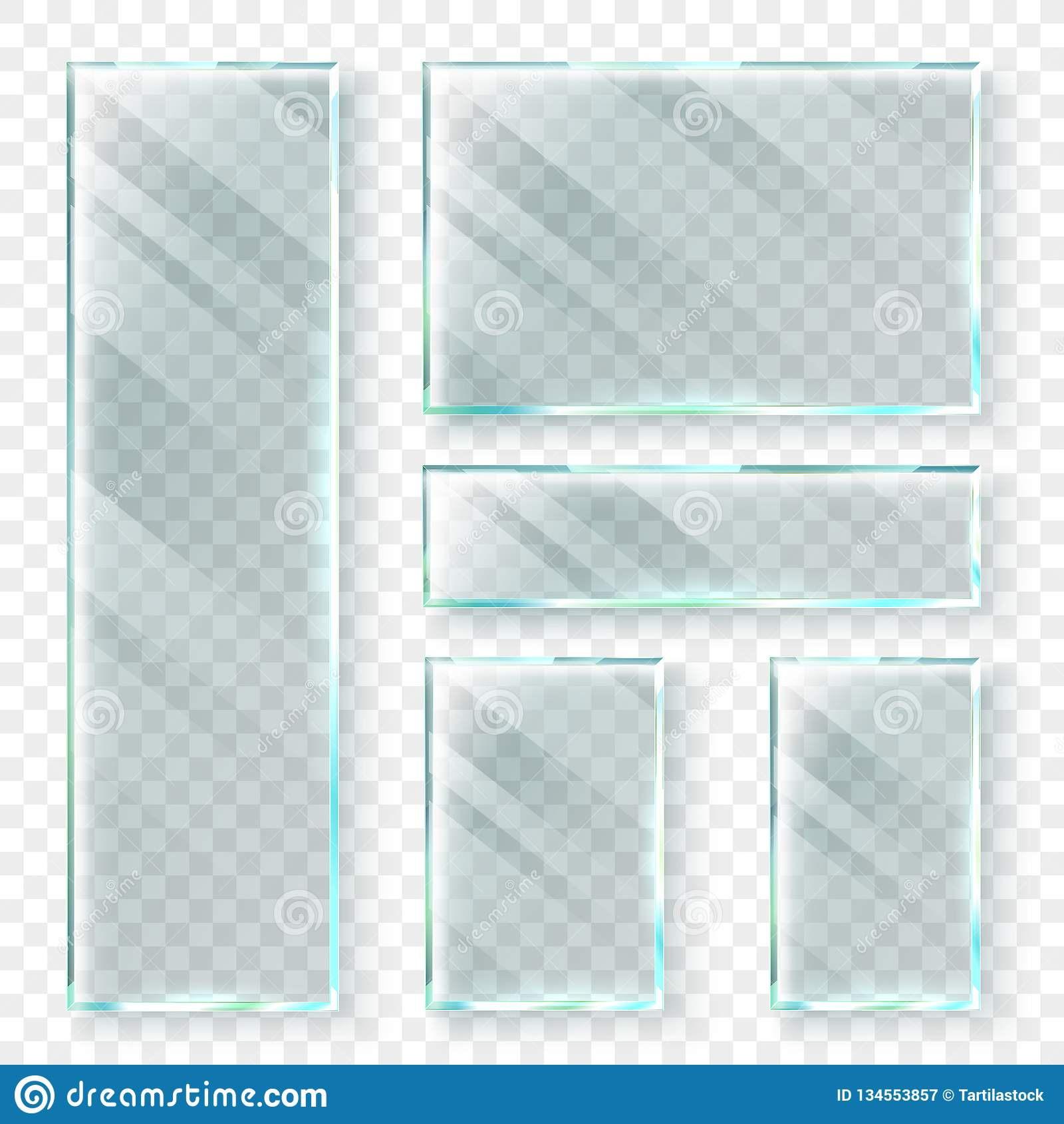 透明玻璃横幅 3d玻璃窗或塑料横幅 现实传染媒介例证集合