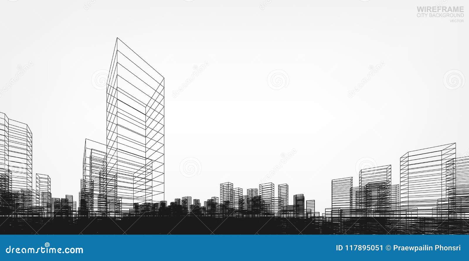 透视3D回报大厦wireframe 向量