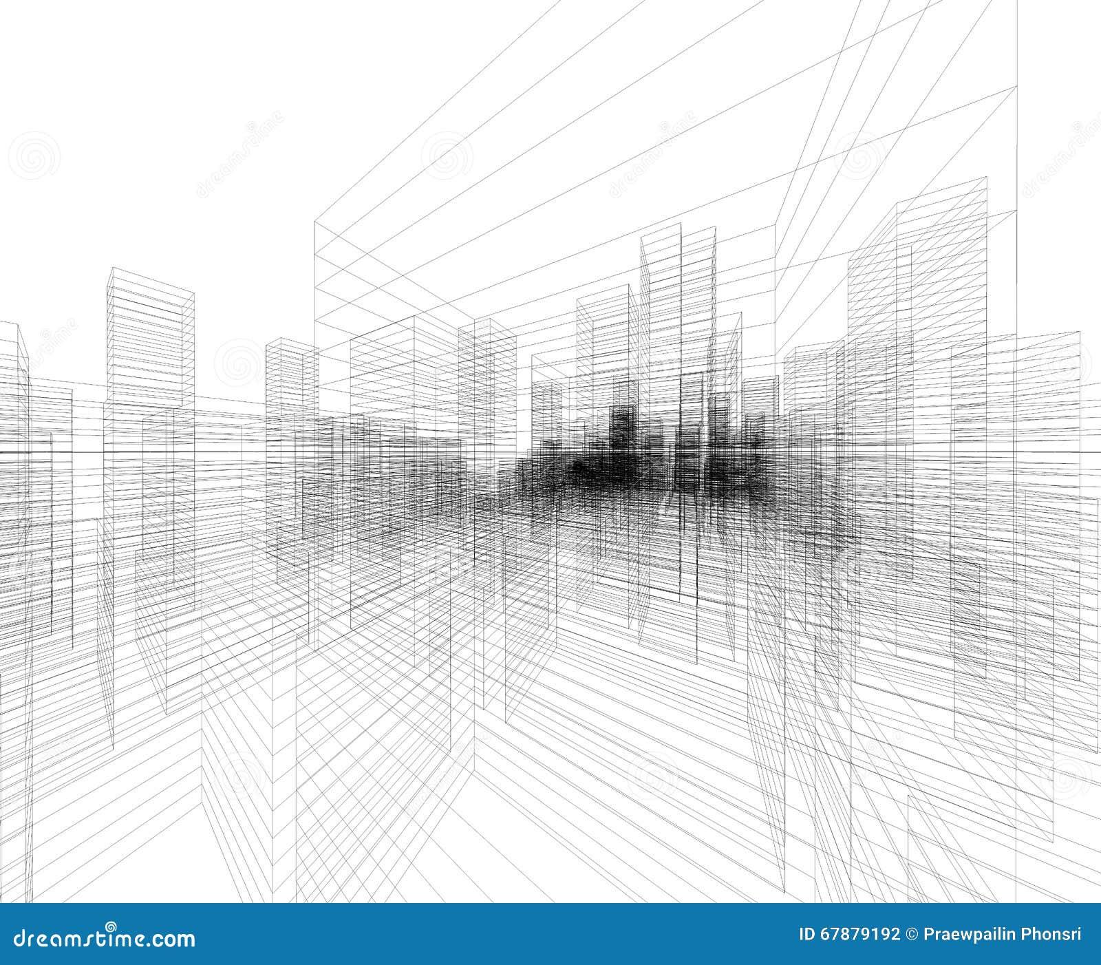 透视3D回报大厦wireframe