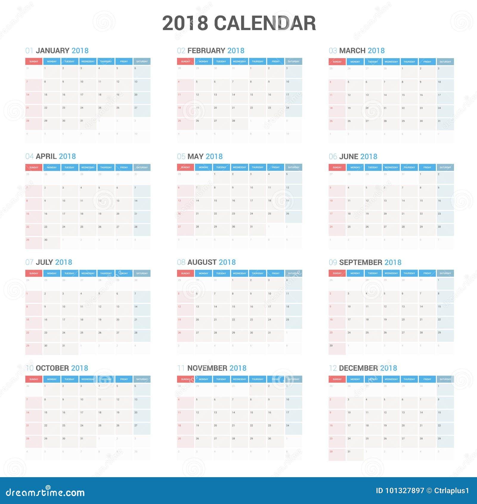 逐年挂历计划者模板2018年 传染媒介设计印刷品模板