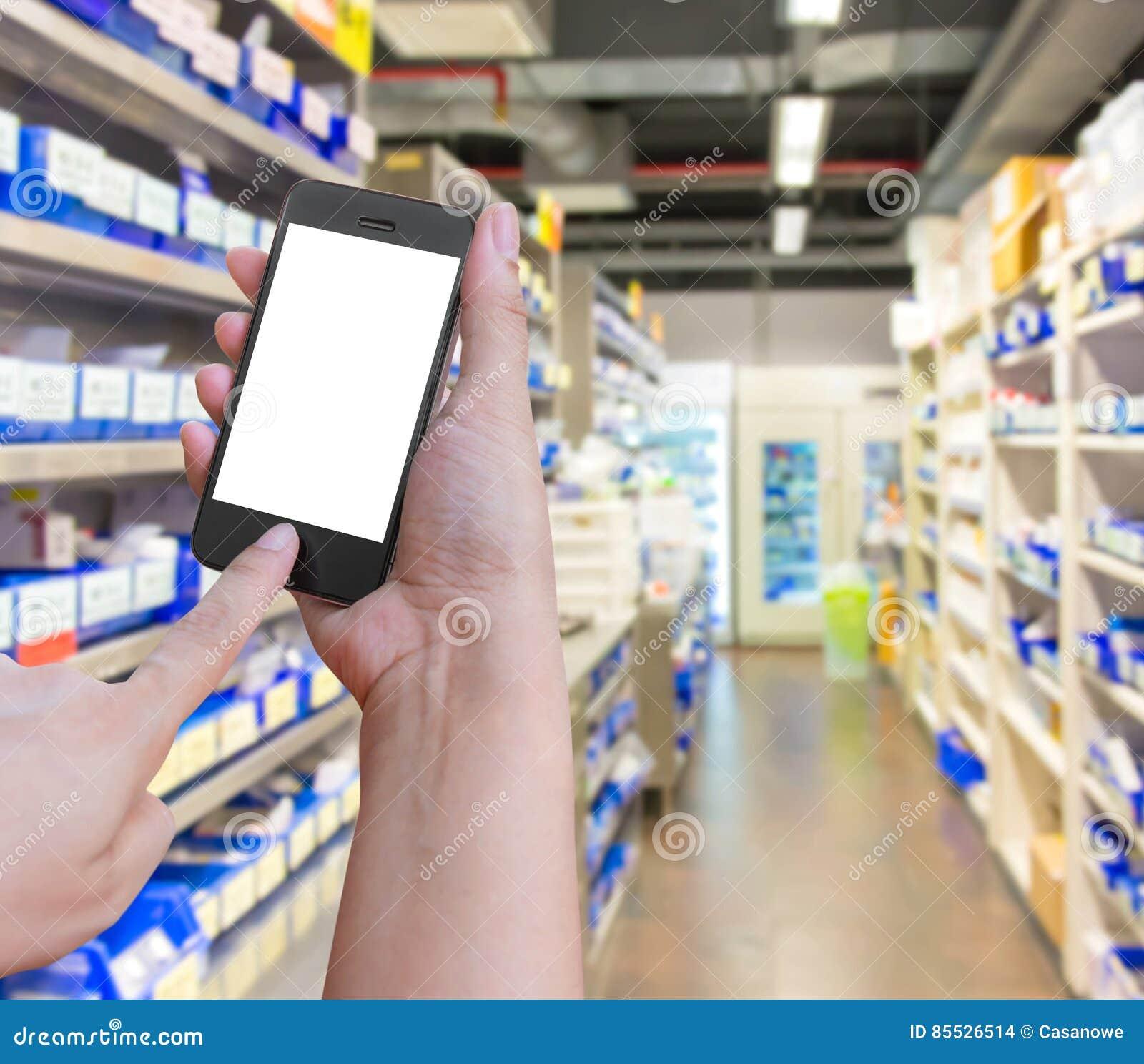 递举行并且接触在与在药房o的智能手机机动性