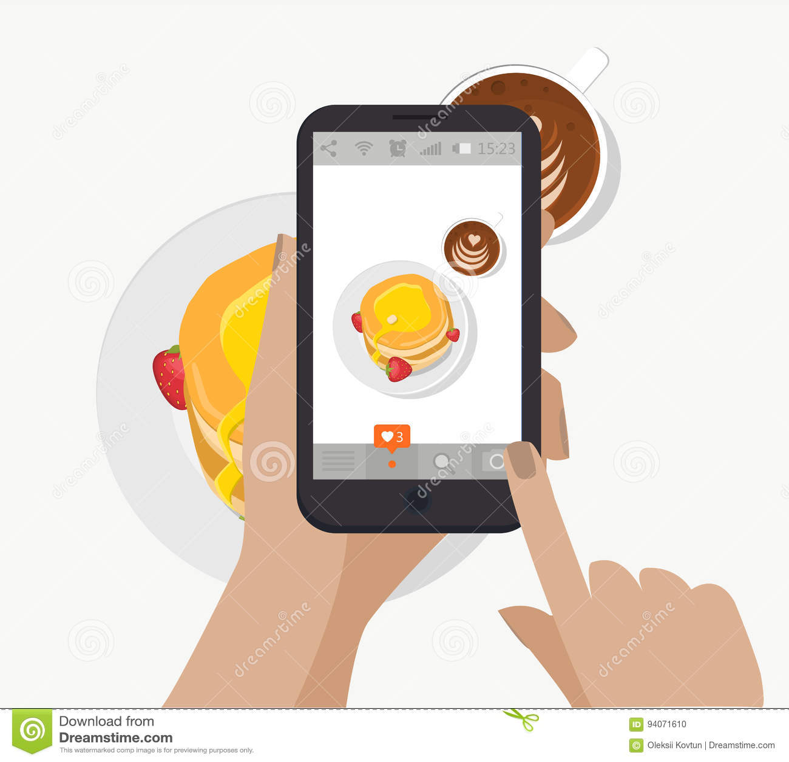 递举行智能手机,触摸屏和采取社会网络的食物摄影 向量 做早餐照片