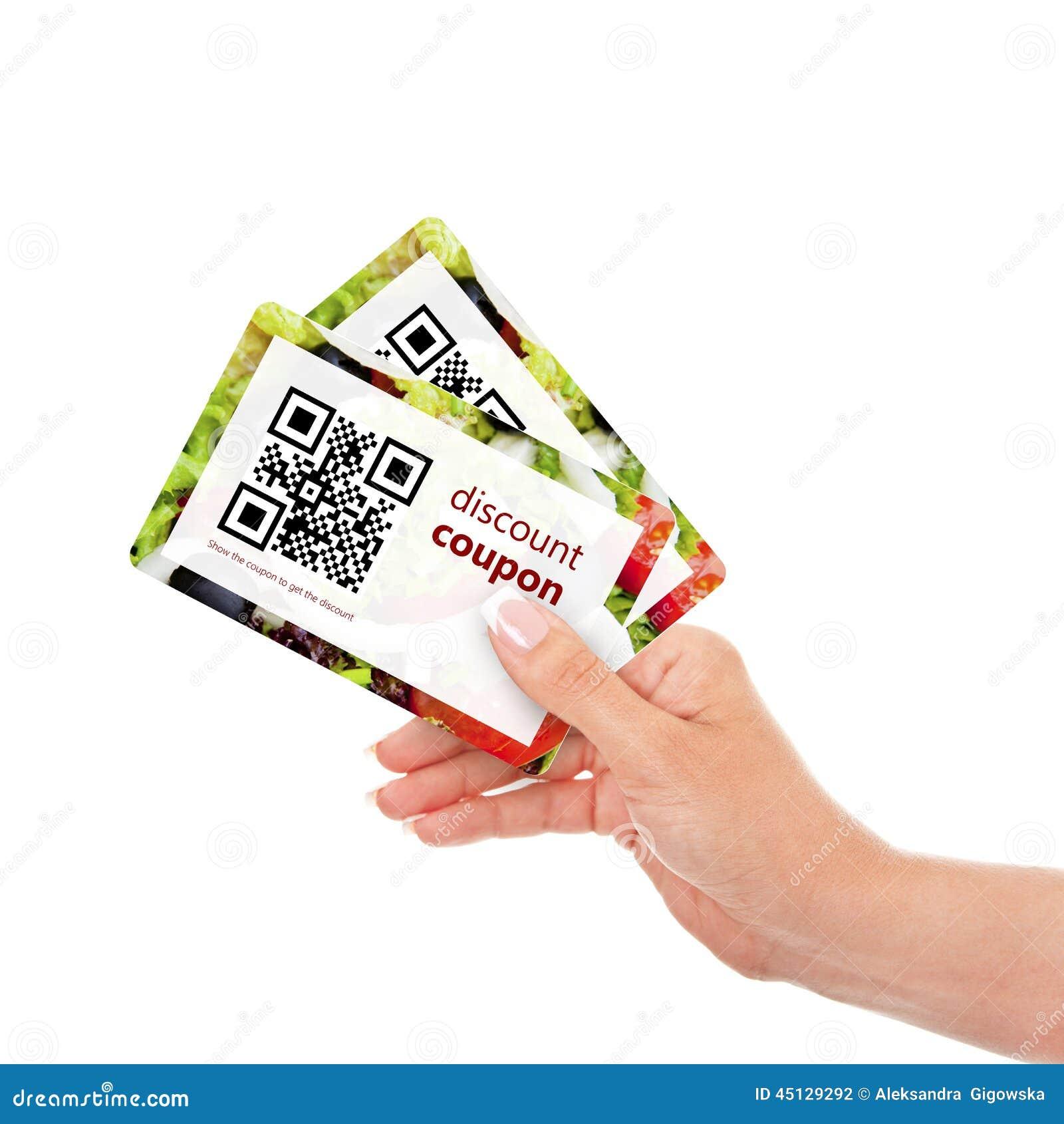 递拿着与qr代码的两张折扣优惠券被隔绝在wh