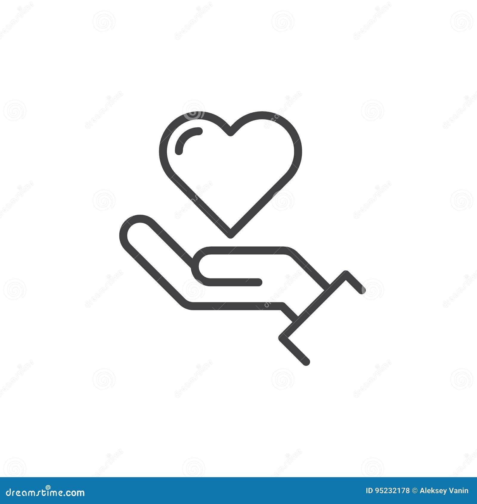 递拿着心脏线象,概述传染媒介标志,在白色隔绝的线性样式图表
