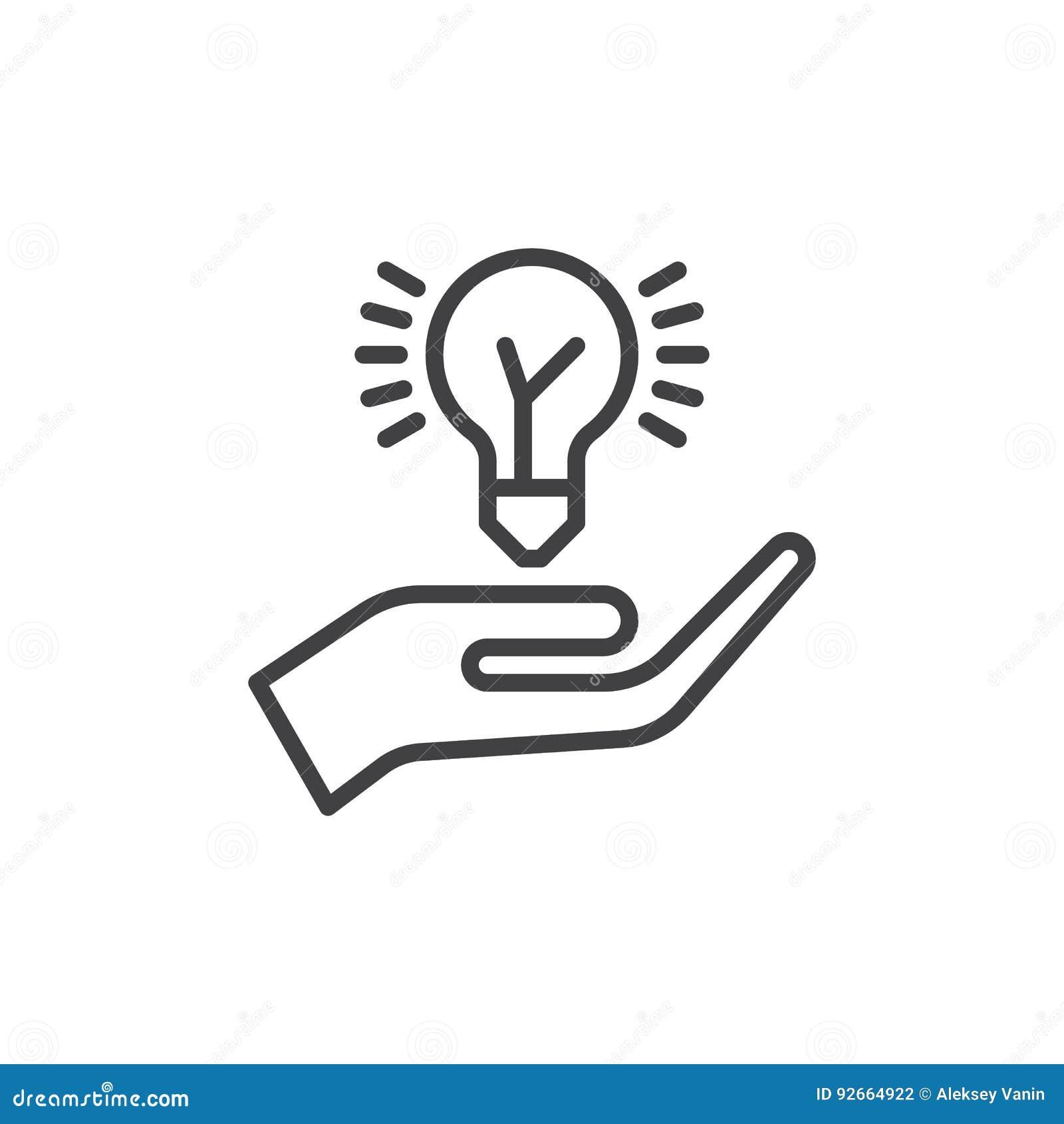 递拿着想法电灯泡线象,概述传染媒介标志,在白色隔绝的线性样式图表 分享标志,商标illustr的想法
