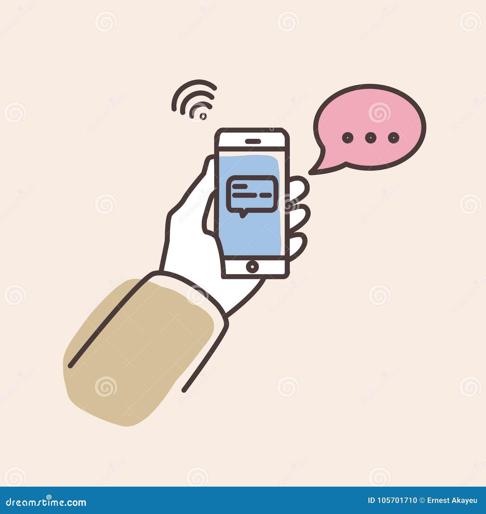 递拿着有正文消息的智能手机在屏幕和讲话泡影 有闲谈或信使通知的电话