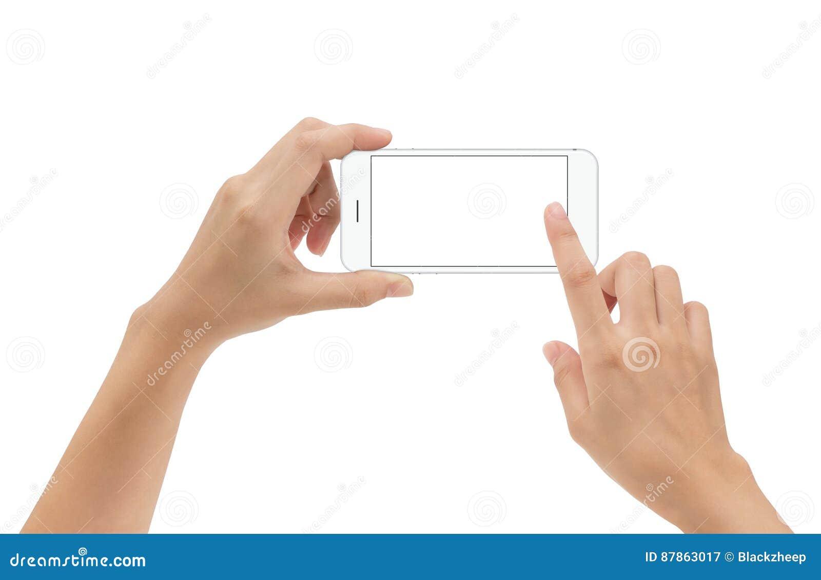 递拿着电话在白色隔绝的流动和触摸屏